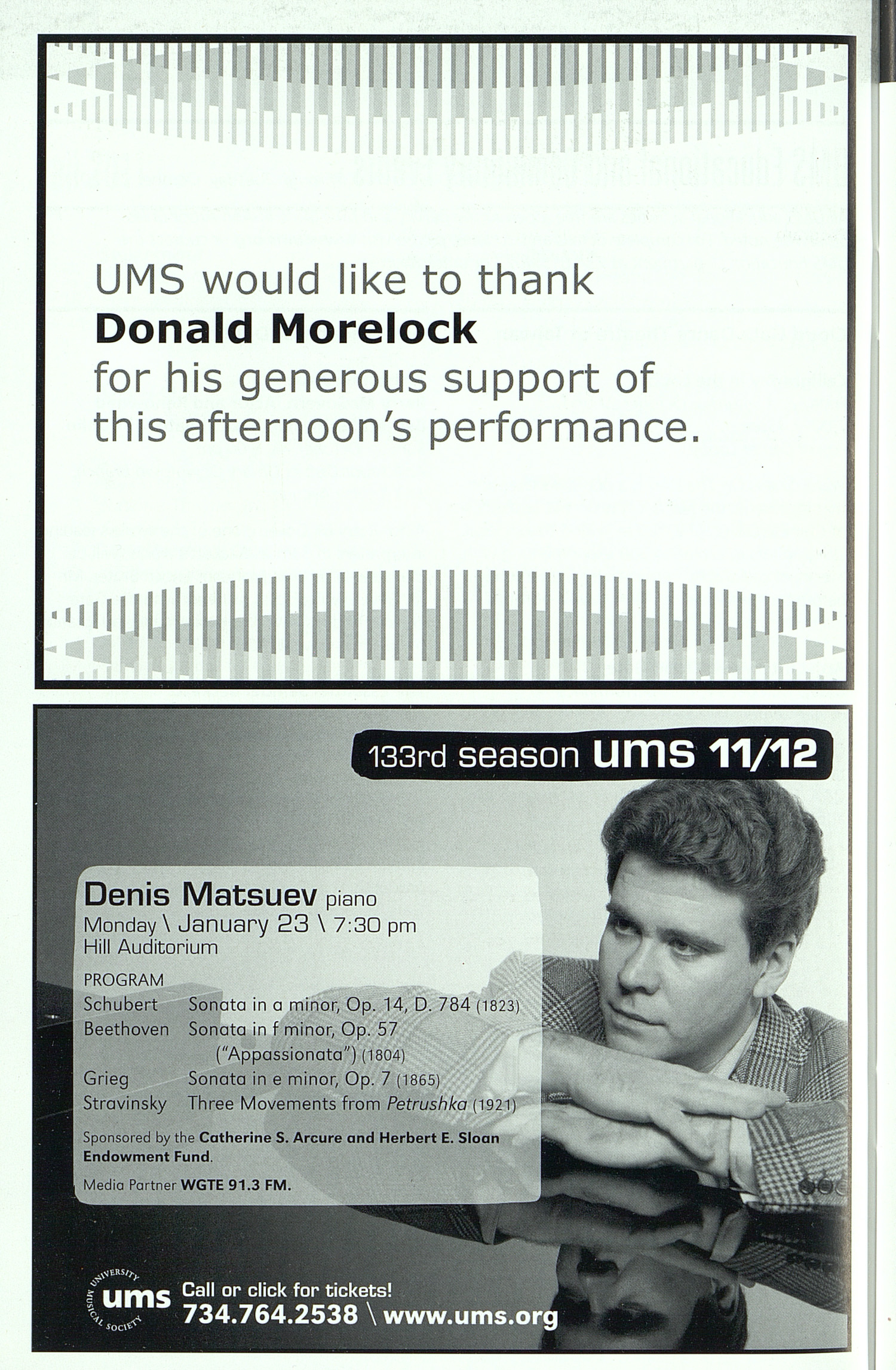 UMS Concert Program, Sunday Oct. 09 To 22: University Musical Society: Fall 2011 - Sunday Oct. 09 To 22 --  image