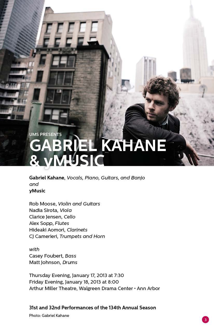 UMS Concert Program, January 17, 2013 - January 27, 2013 - Gabriel Kahane & yMusic; From Cass Corridor to the World: A Tribute  image