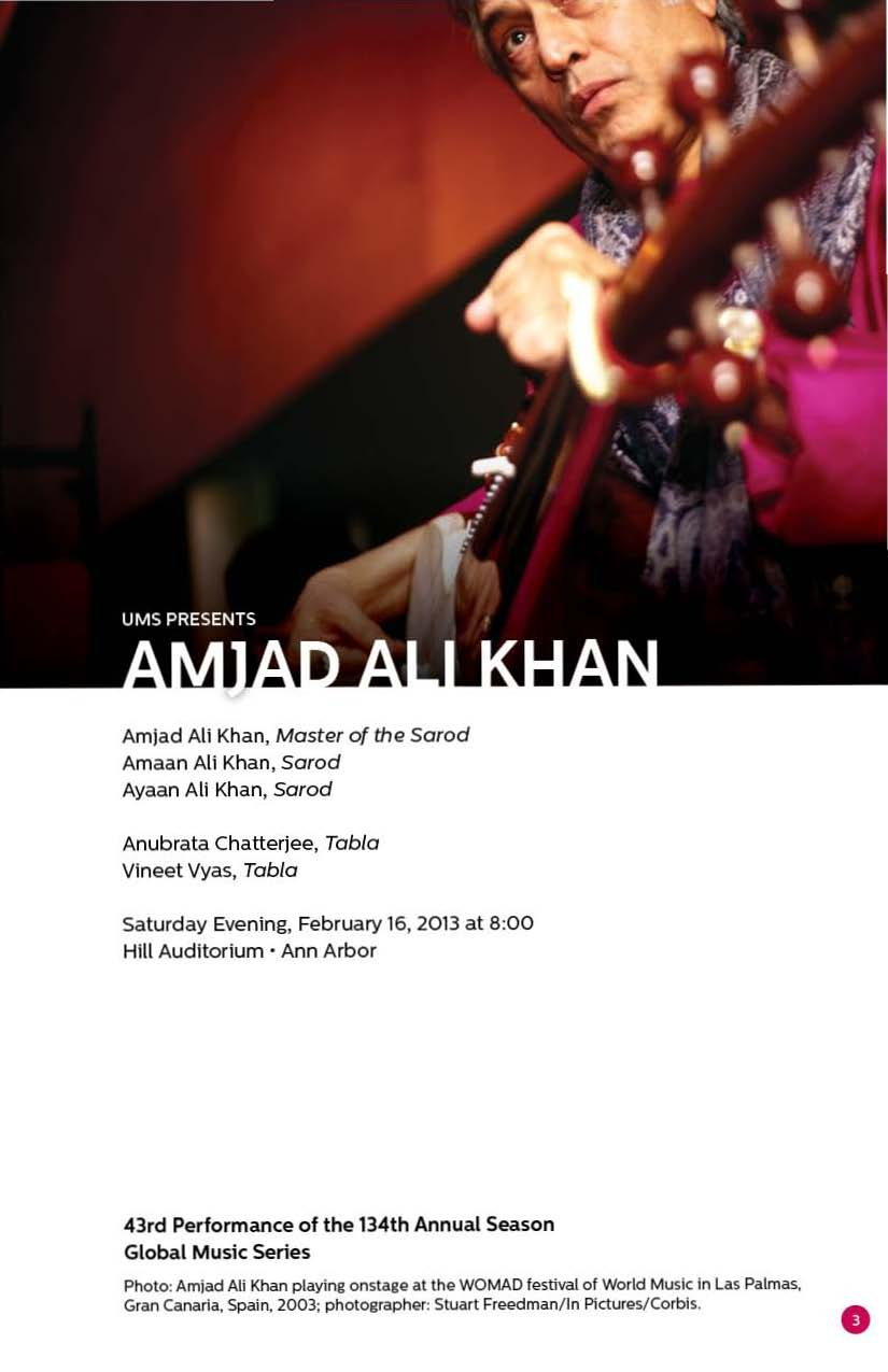 UMS Concert Program, February 16, 2013 - February 24, 2013 - Amjad Ali Khan; The English Concert; Propeller; New York Philharmon image