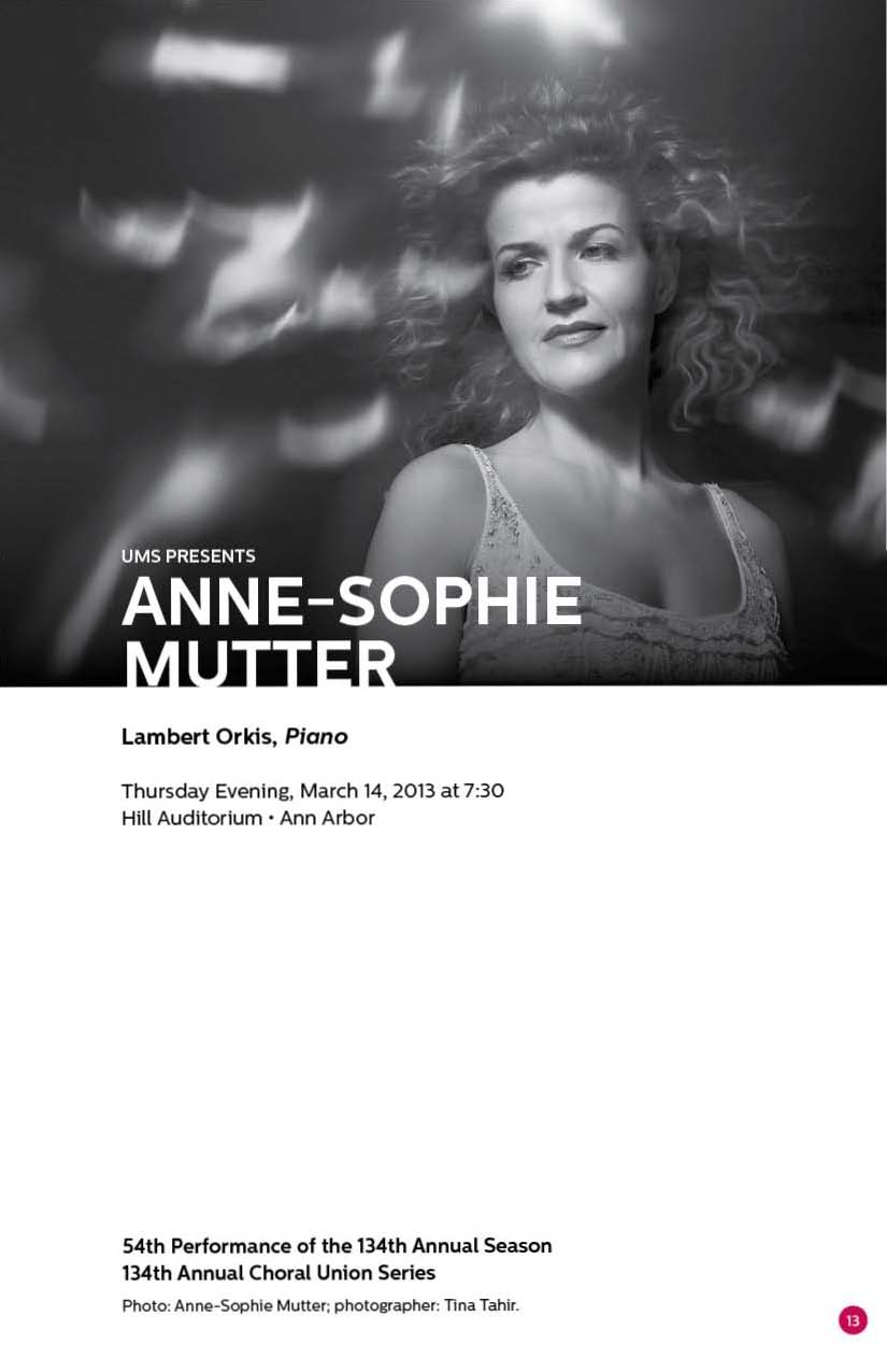 UMS Concert Program, March 13, 2013 - March 23, 2013 - Artemis Quartet; Anne-Sophie Mutter with Lambert Orkis; The Silk Road Ens image