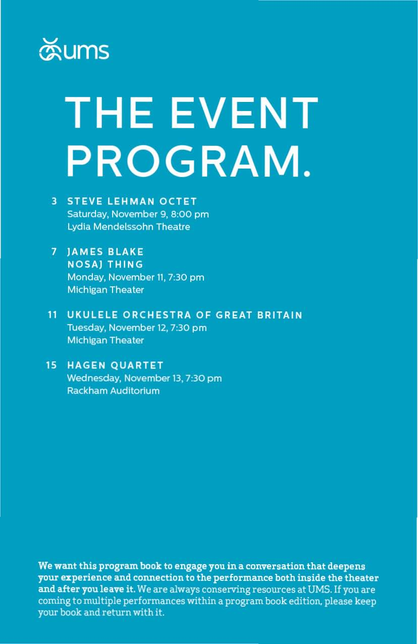 UMS Concert Program, November 9, 2013 - November 13, 2013 - Steve Lehman Octet; James Blake, Nosaj Thing; Ukulele Orchestra of  image