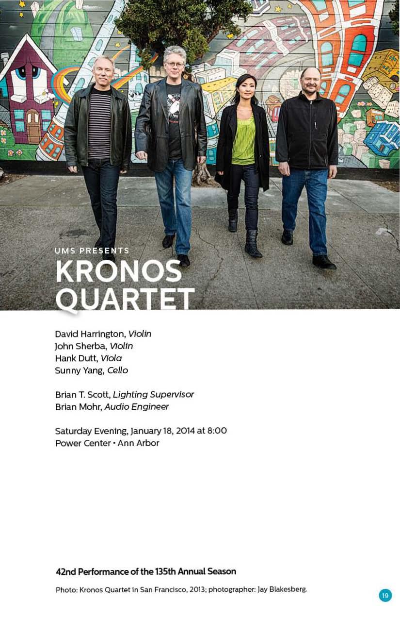 UMS Concert Program, January 15, 2014 - January 30, 2014 - Colin Stetson; Kronos Quartet; Denis Matsuev; Fred Hersch Trio image