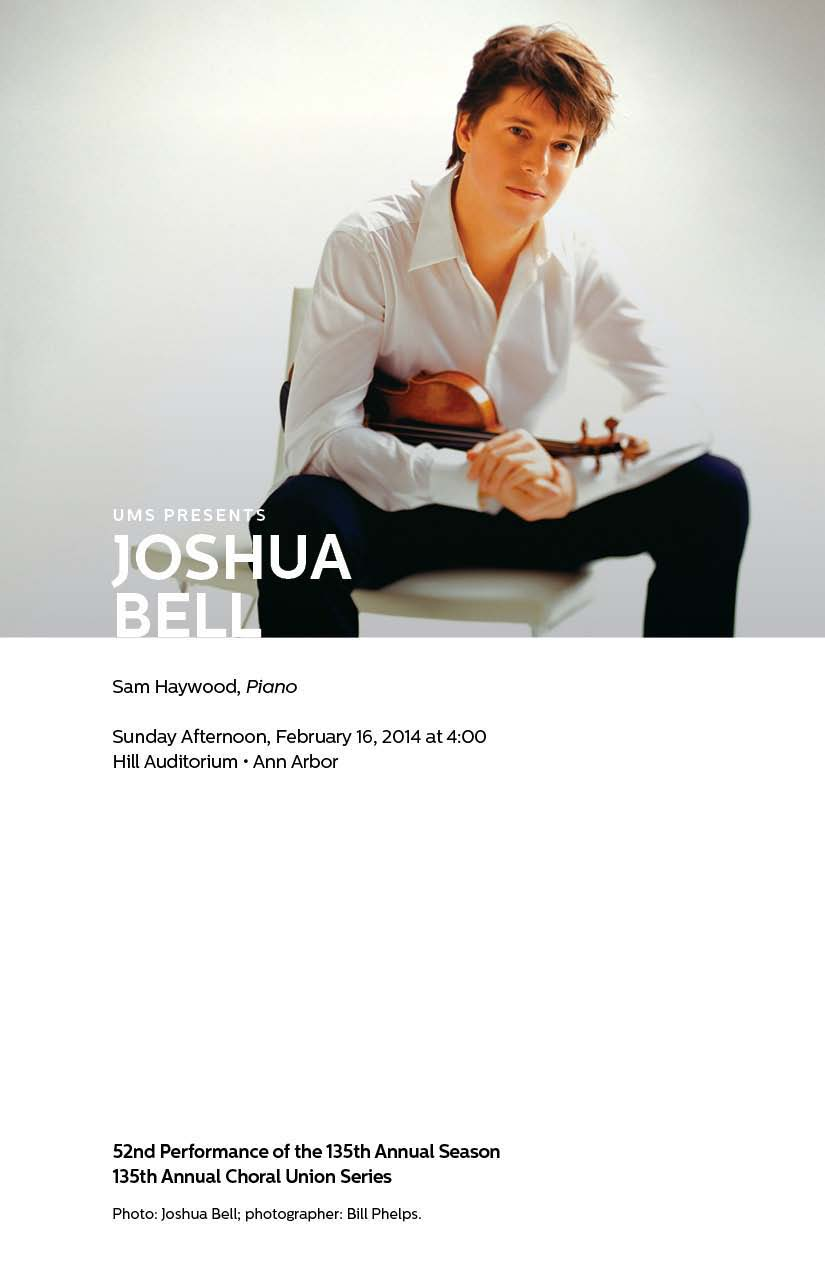 "UMS Concert Program, February 14, 2014 - February 22, 2014 - Compagnie Kafig; Joshua Bell; ""The Suit"", Theatre des Bouffes du No image"