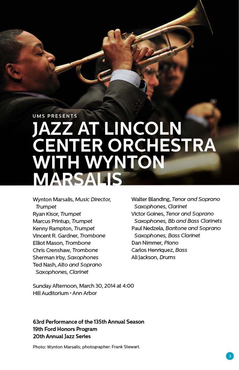 "UMS Concert Program, March 30, 2014 - April 13, 2014 - ""19th Ford Honors Program"", Jazz at Lincoln Center Orchestra with Wynton  image"