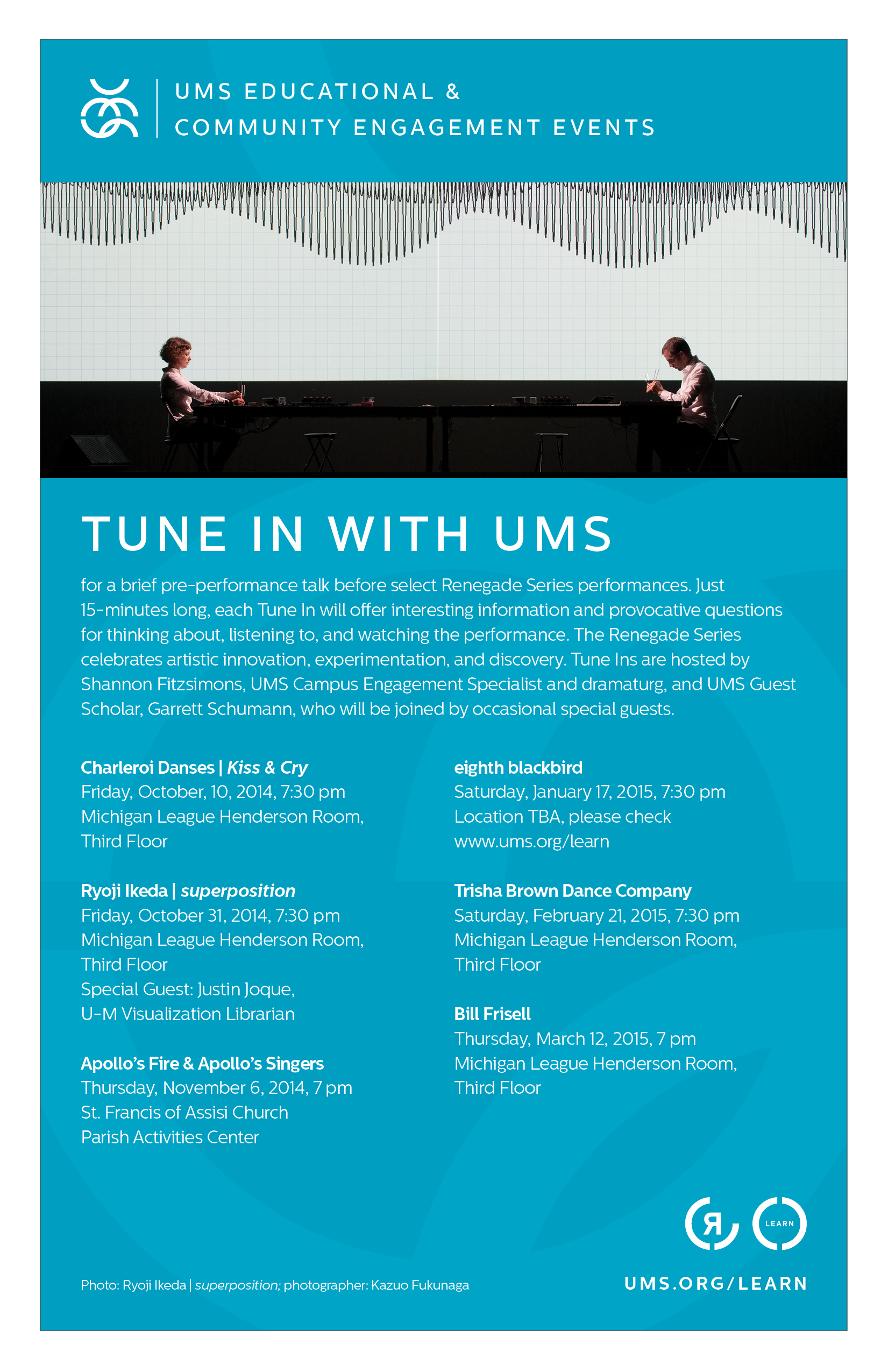 UMS Concert Program, September 14 - October 12, 2014:  Itzhak Perlman; Emerson String Quartet; Kiss & Cry, Charleroi Danses image