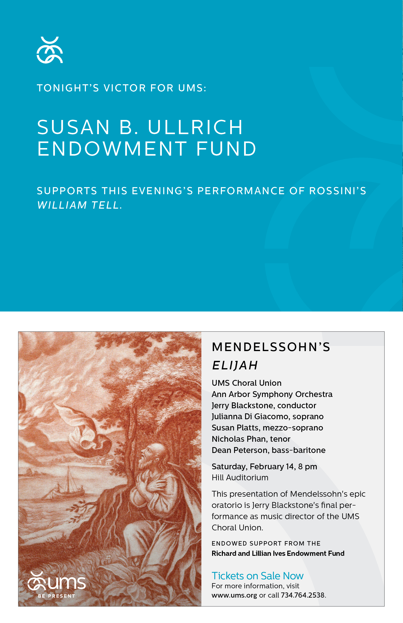 UMS Concert Program, December 6, 2014 - January 11, 2015: Handel's Messiah; Rossini's William Tell; Helen & Edgar image