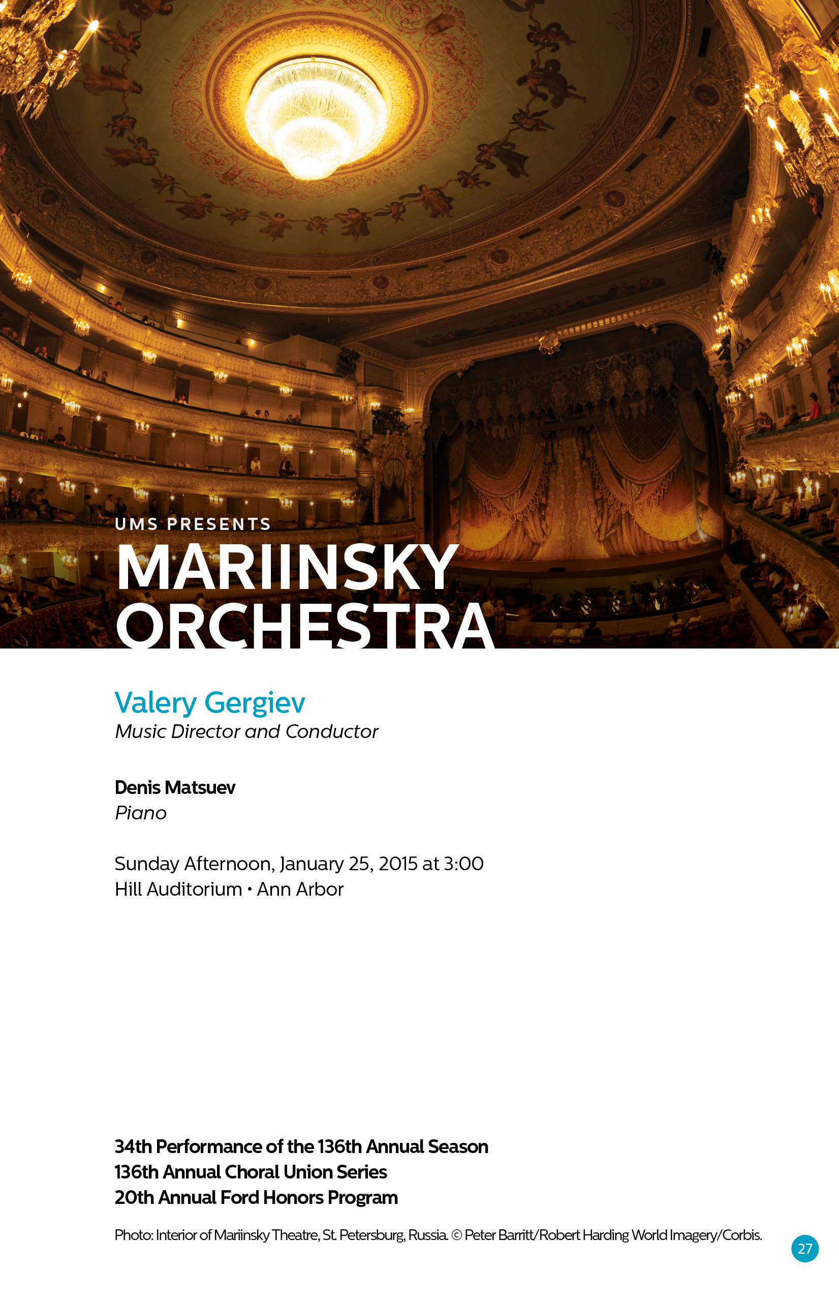 UMS Concert Program, January 17-25, 2015: Eighth Blackbird; Compagnie Marie Chouinard; Mariinsky Orchestra image