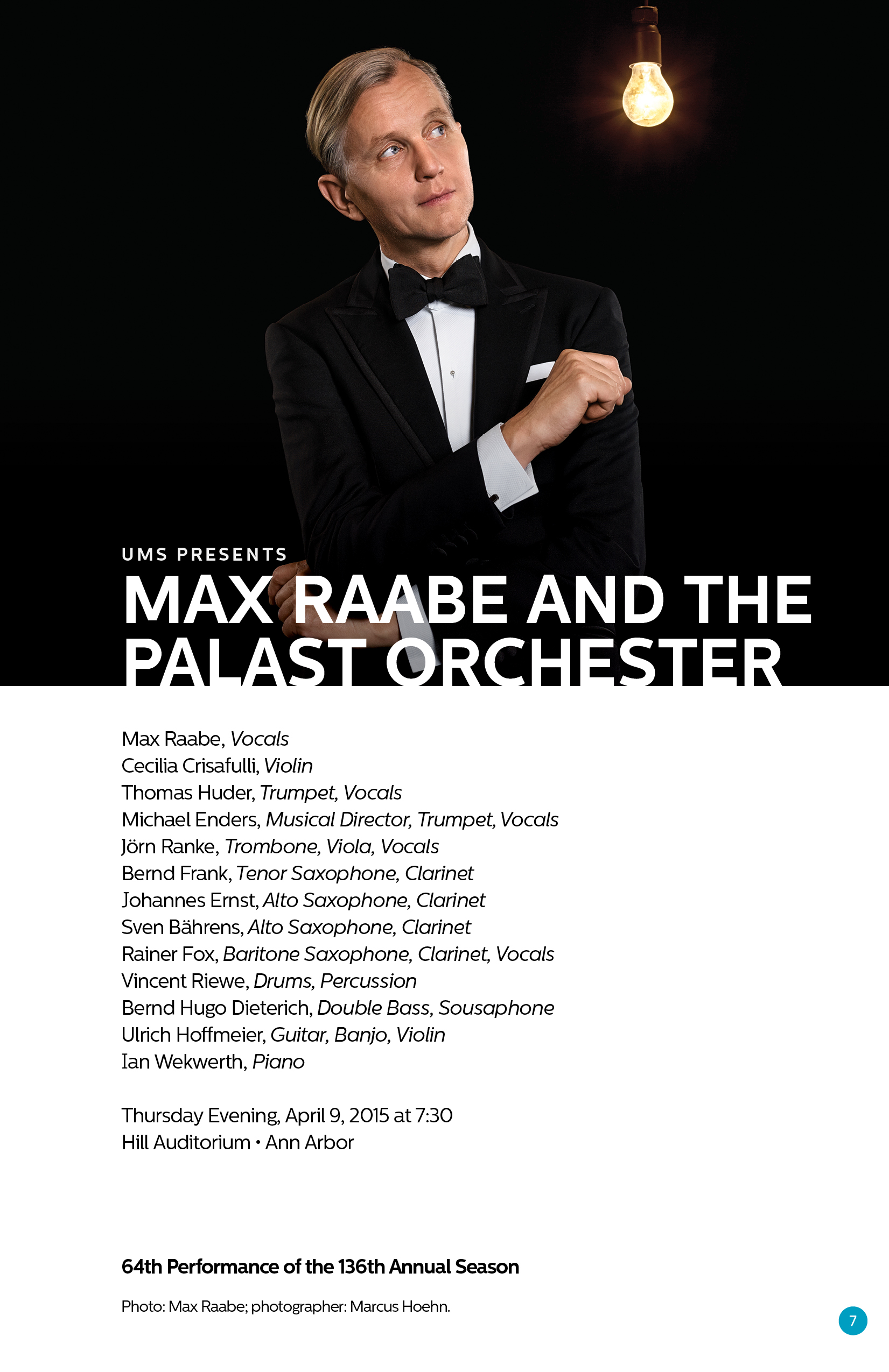 UMS Concert Program, April 4-17, 2015: Gilberto Gil; Max Raabe & Palast Orchester; Chick Corea & Herbie Hancock; Oliver Mtukudzi image