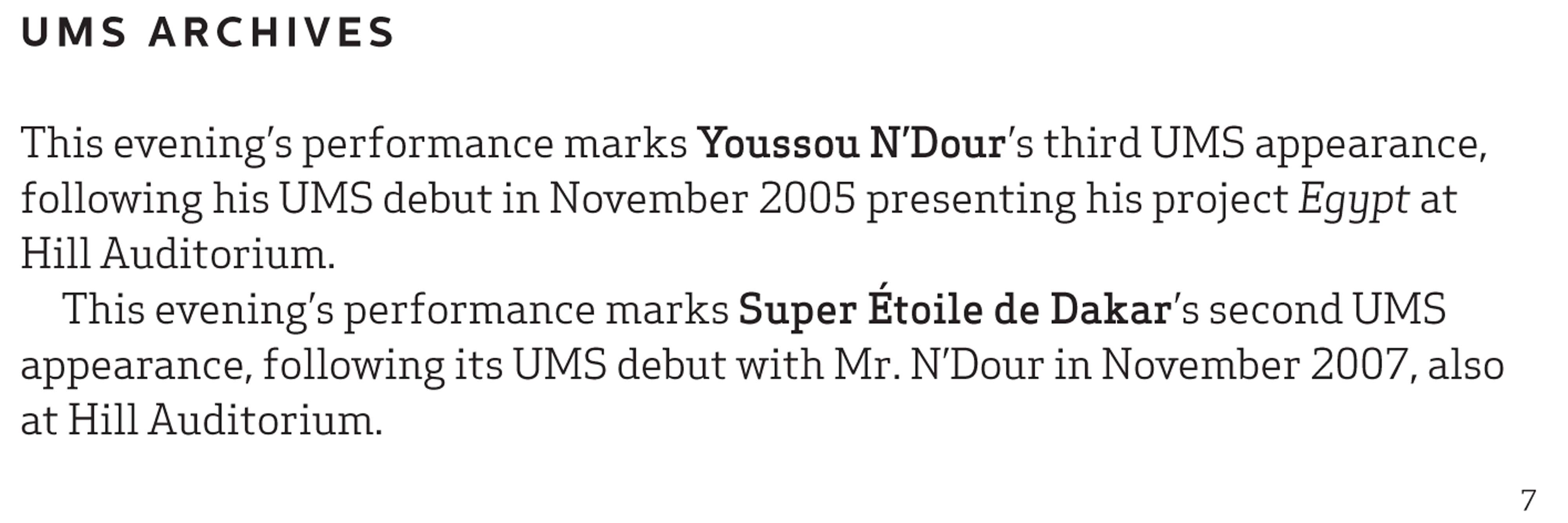 UMS Concert Program, November 14, 2015 - Youssou N'Dour and Super Étoile de Dakar image