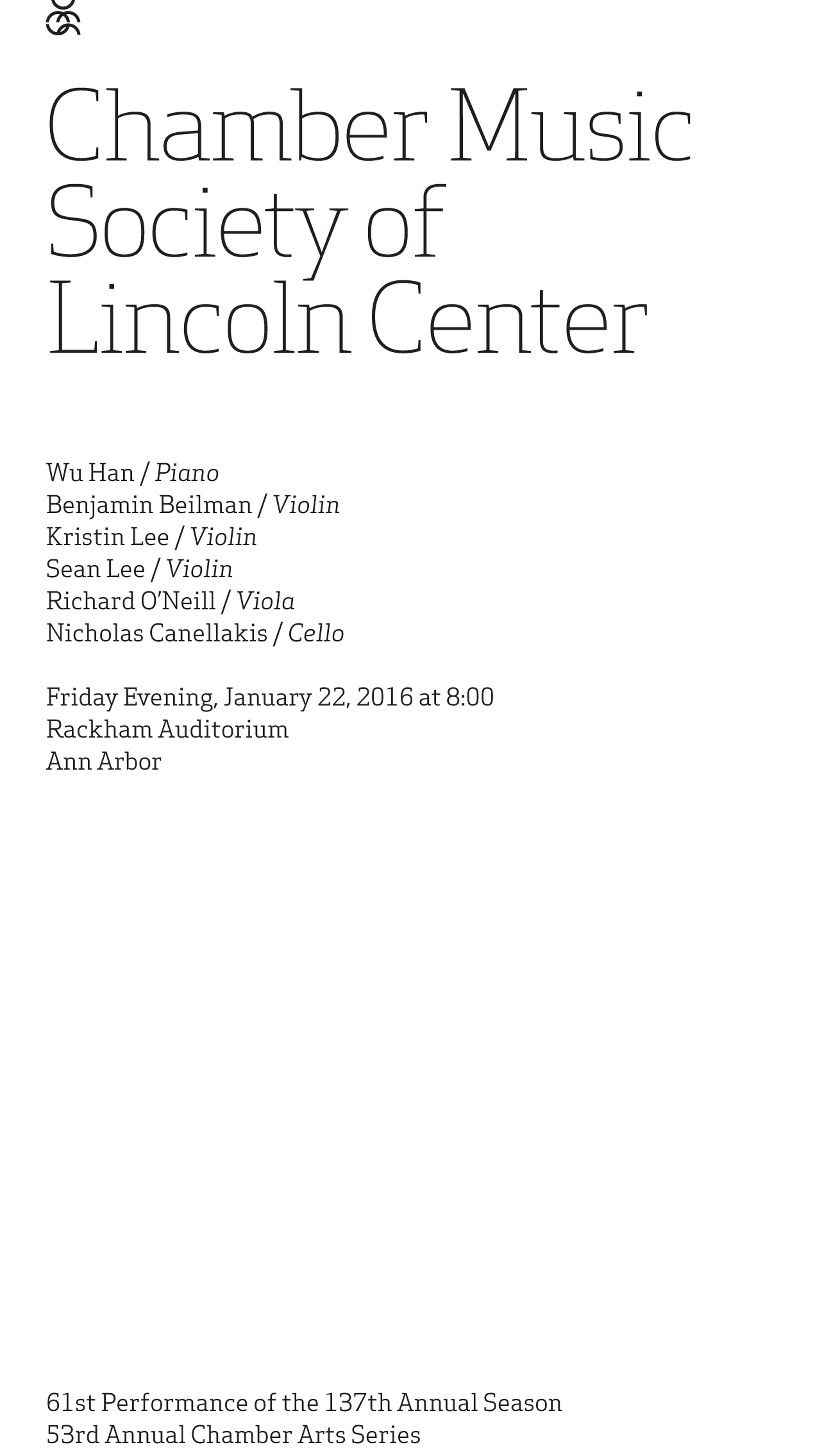 UMS Concert Program, January 22, 2016 - Chamber Music Society of Lincoln Center image