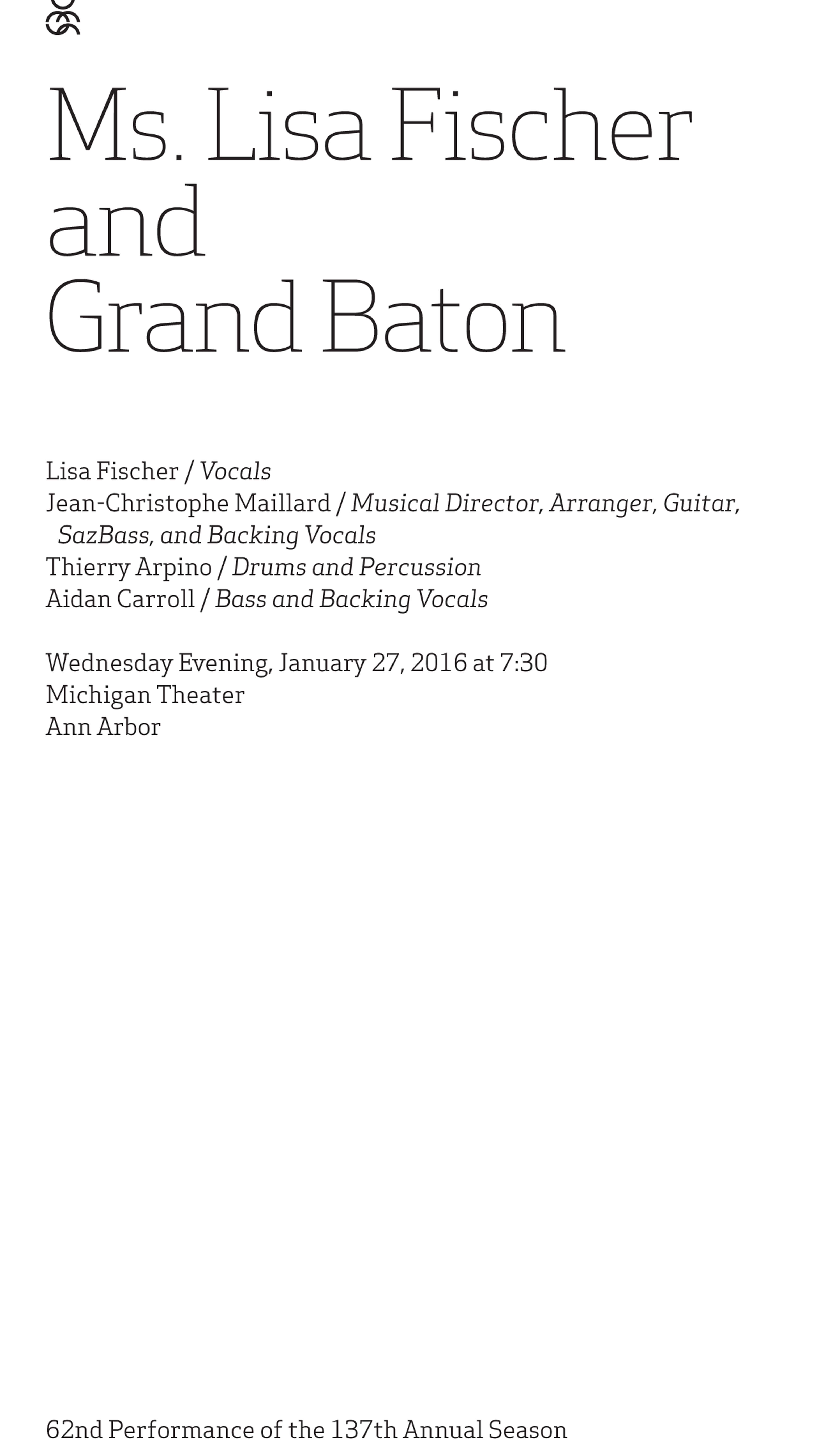UMS Concert Program, January 27, 2016 - Ms. Lisa Fischer and Grand Baton image