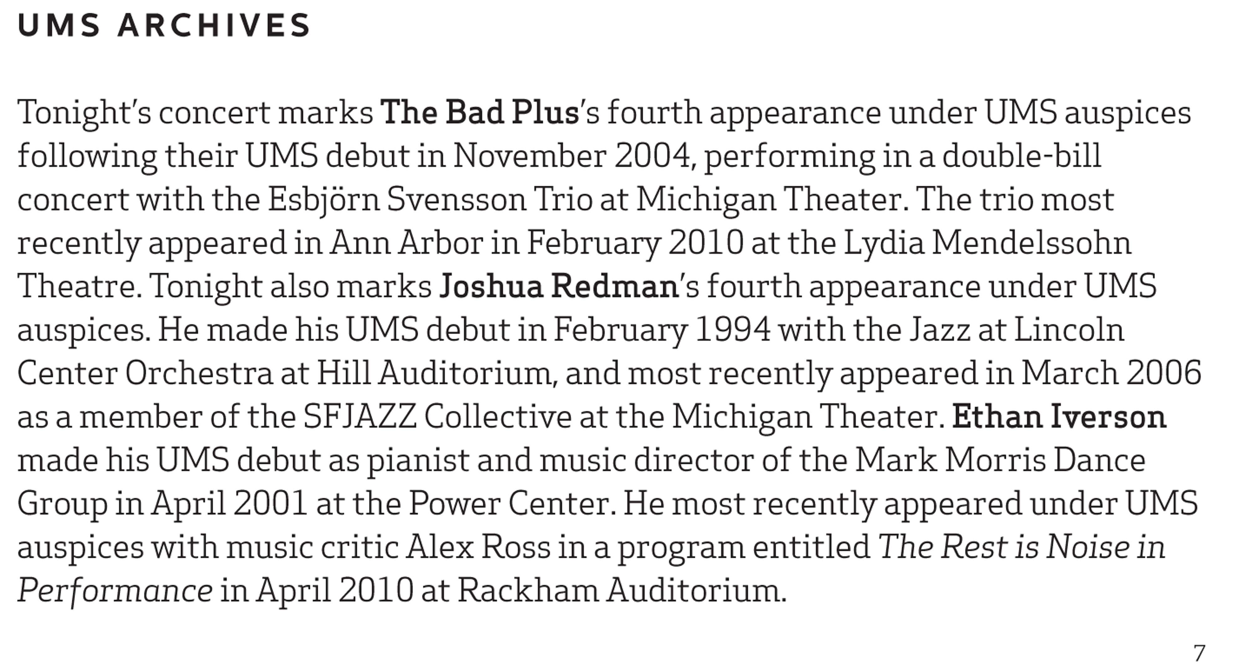 UMS Concert Program, April 23, 2016 - The Bad Plus Joshua Redman image
