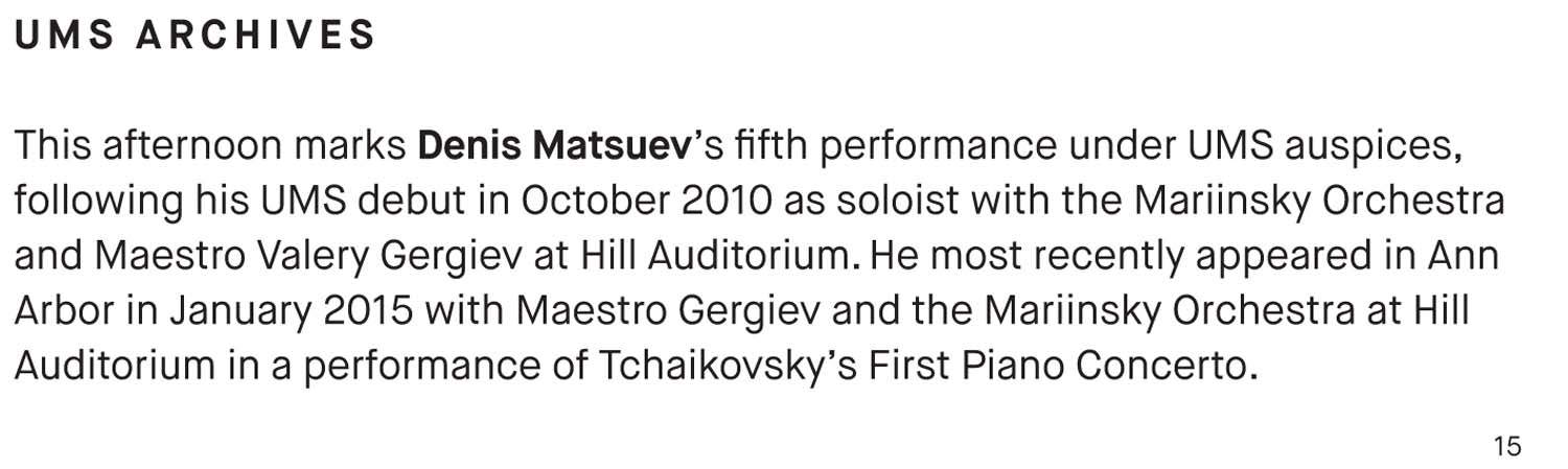UMS Concert Program, October 16, 2016 - Denis Matsuev image