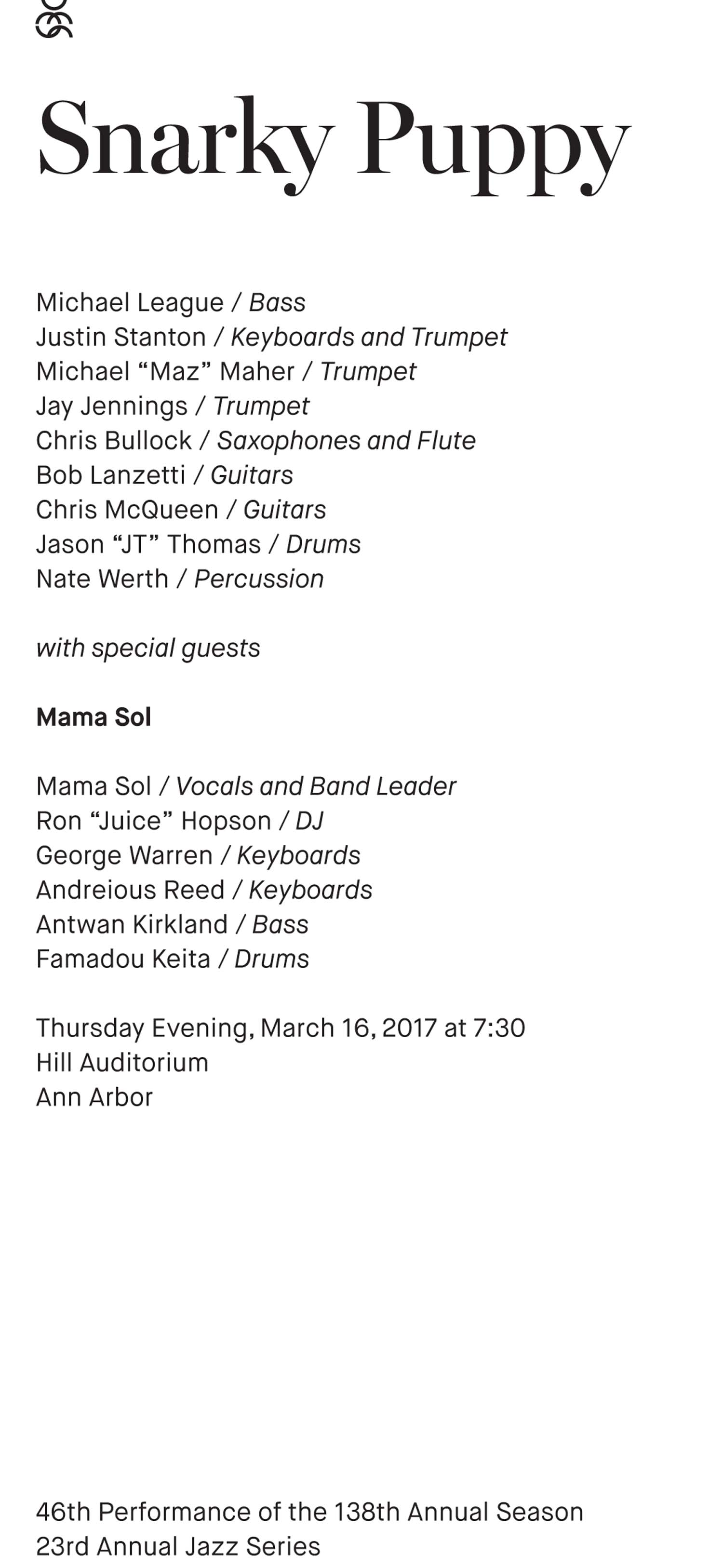 UMS Concert Program, March 16, 2017 - Snarky Puppy image
