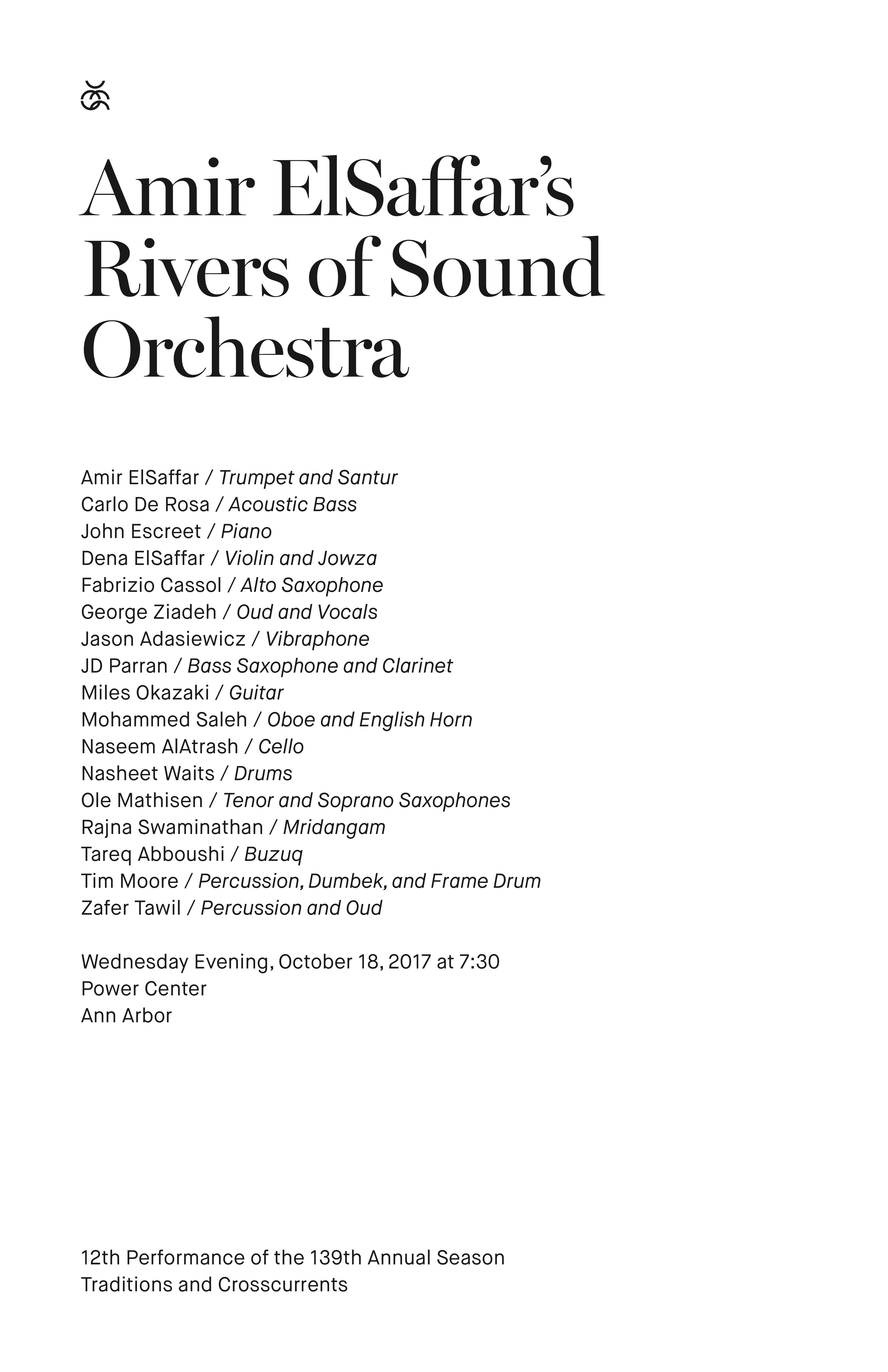 UMS Concert Program, October 18, 2017 - Amir ElSaffar's Rivers of Sound Orchestra image
