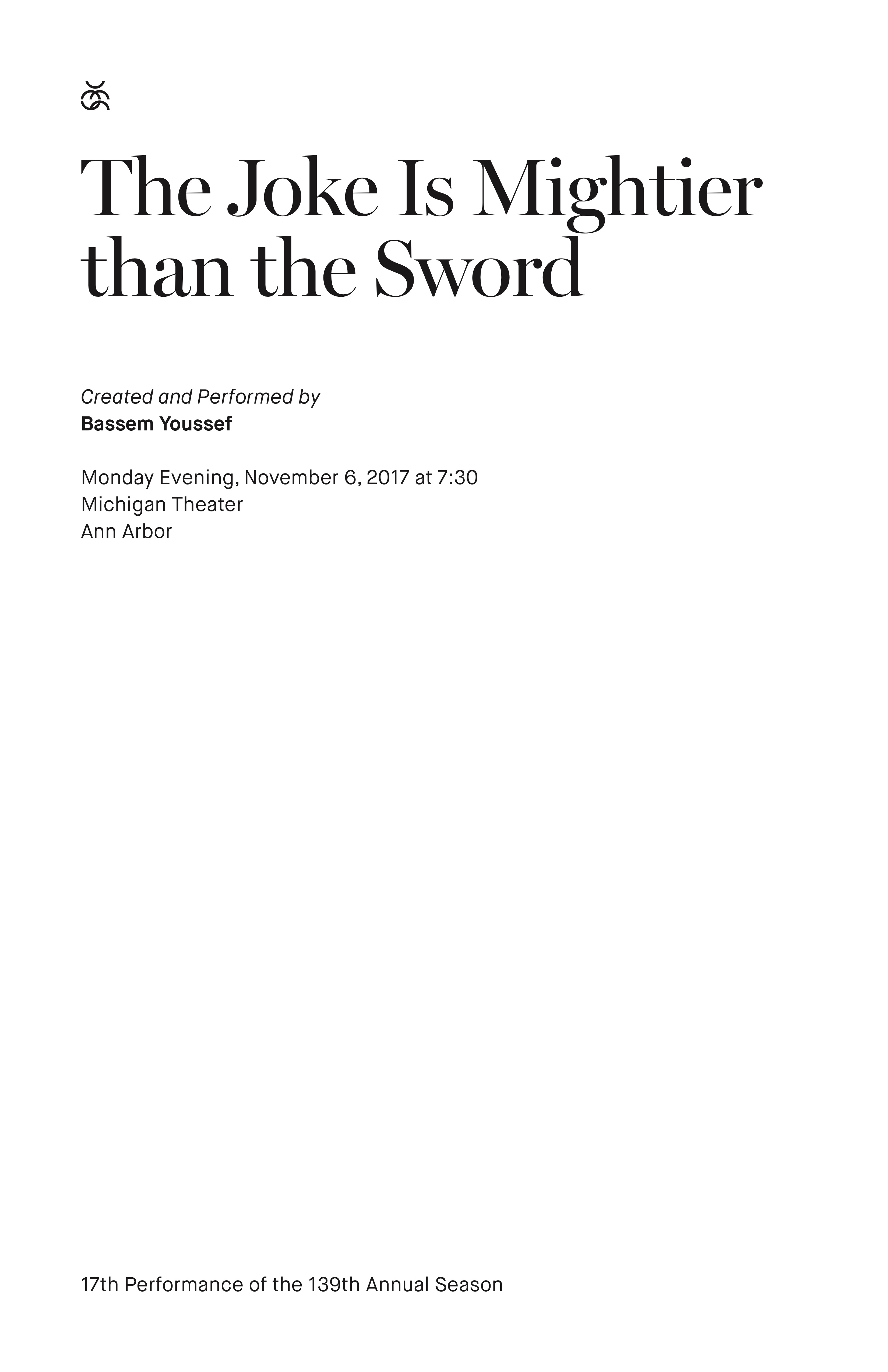UMS Concert Program, November 6, 2017 - The Joke Is Mightier than the Sword image