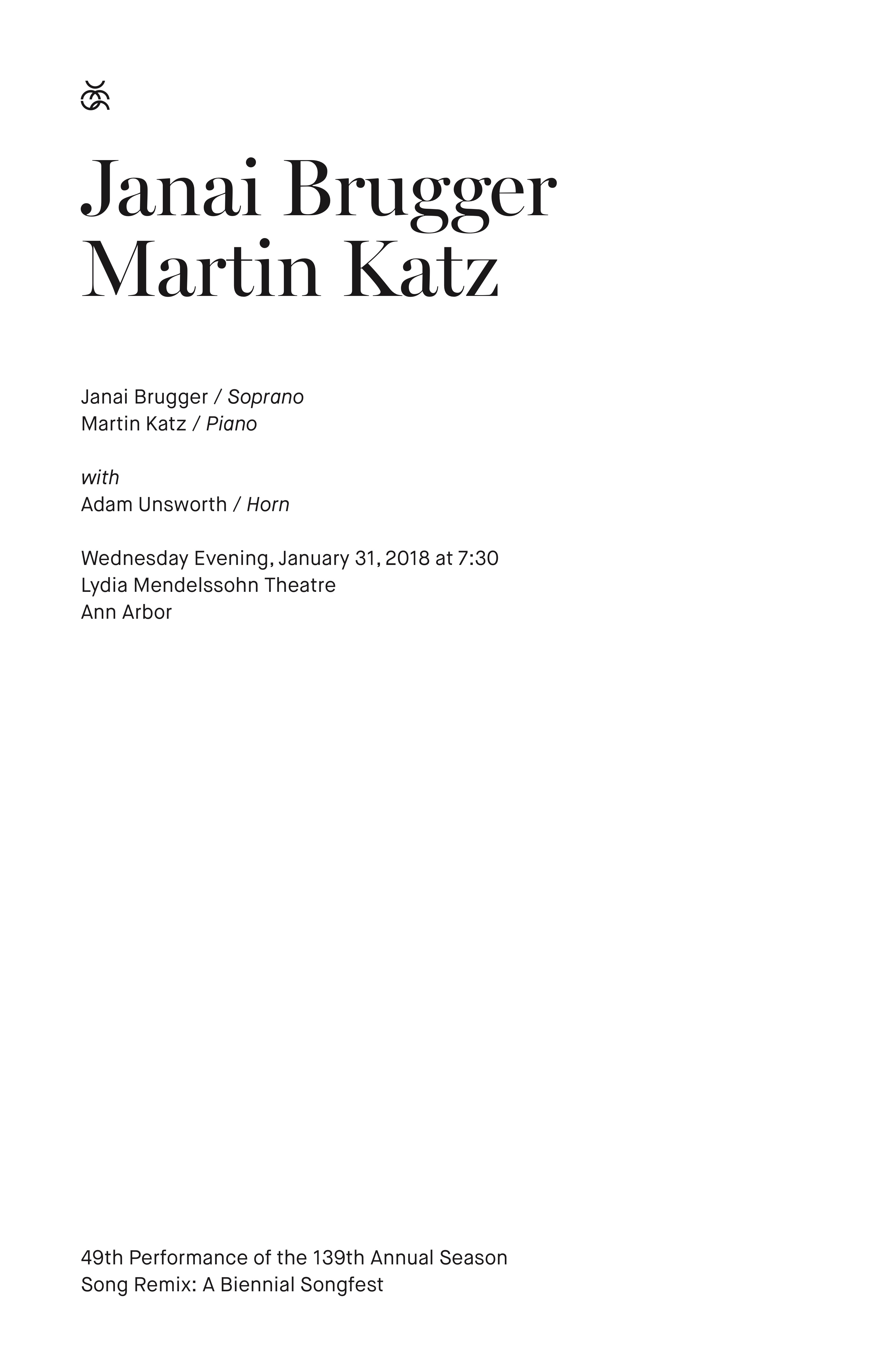 UMS Concert Program, January 31, 2018 - Janai Brugger & Martin Katz image