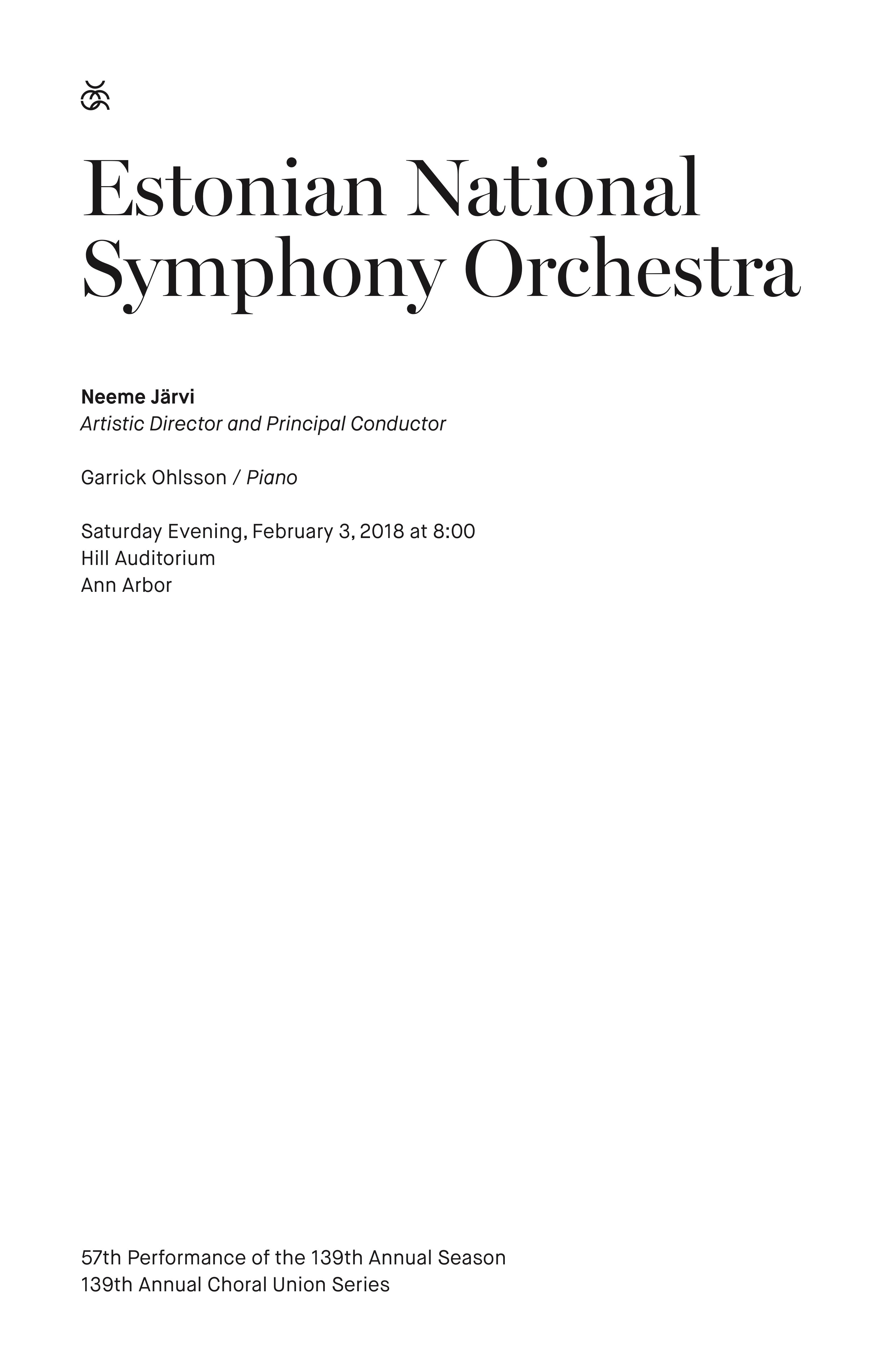 UMS Concert Program, February 3, 2018 - Estonian National Symphony Orchestra image