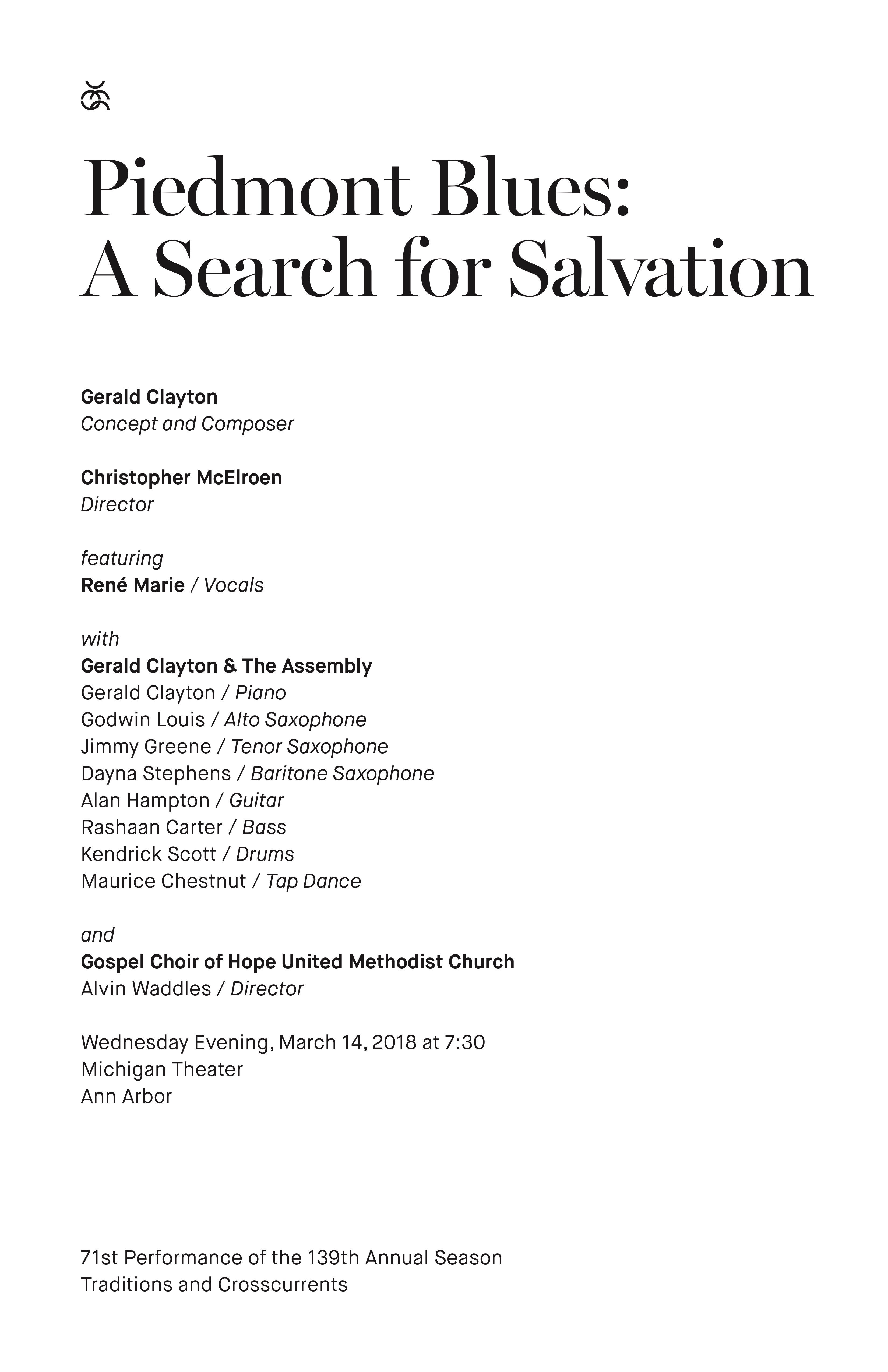 UMS Concert Program, March 14, 2018 - Piedmont Blues:  A Search for Salvation image