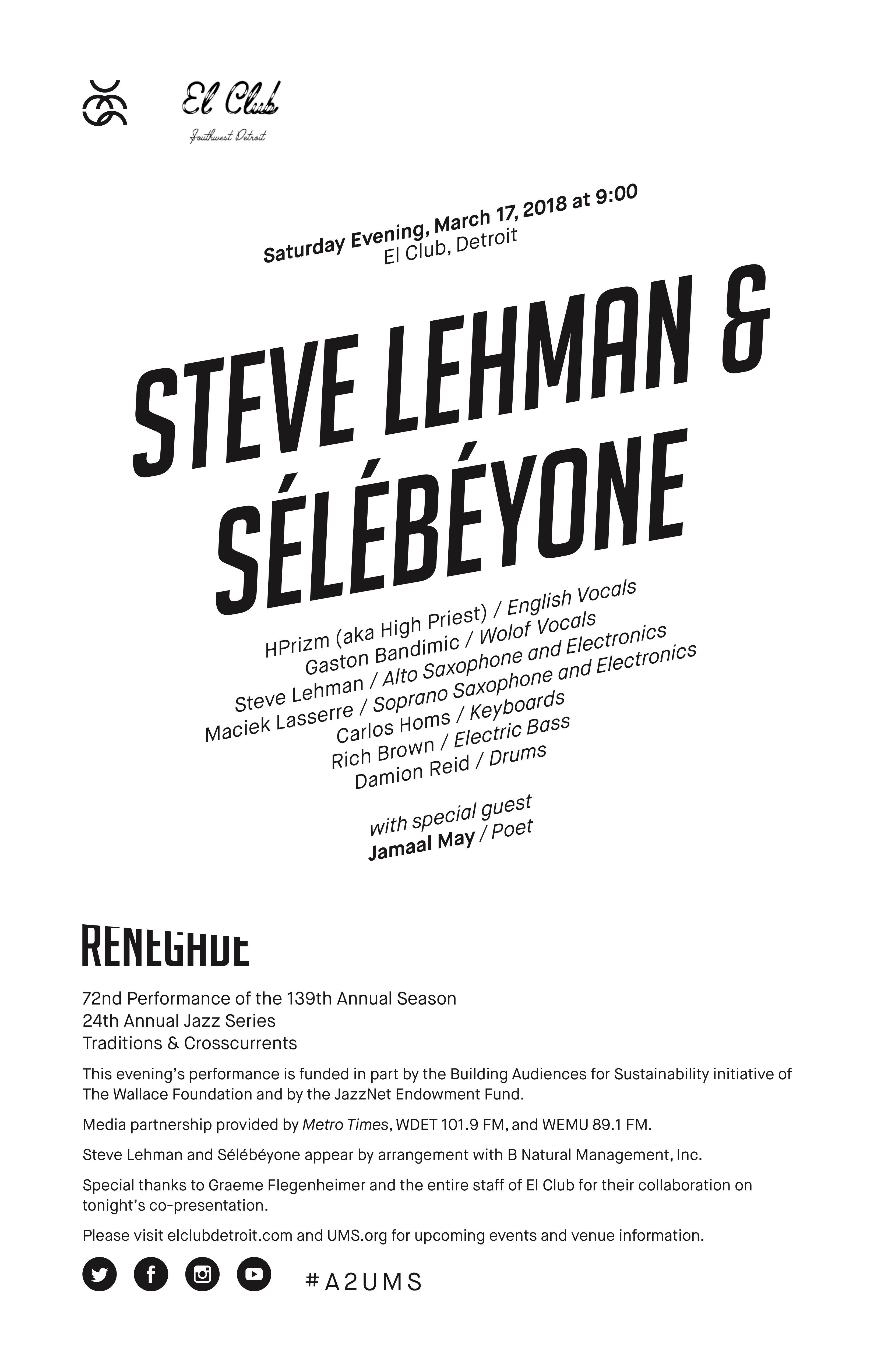 UMS Concert Program, March 17, 2018 - Steve Lehman & Sélébéyone image