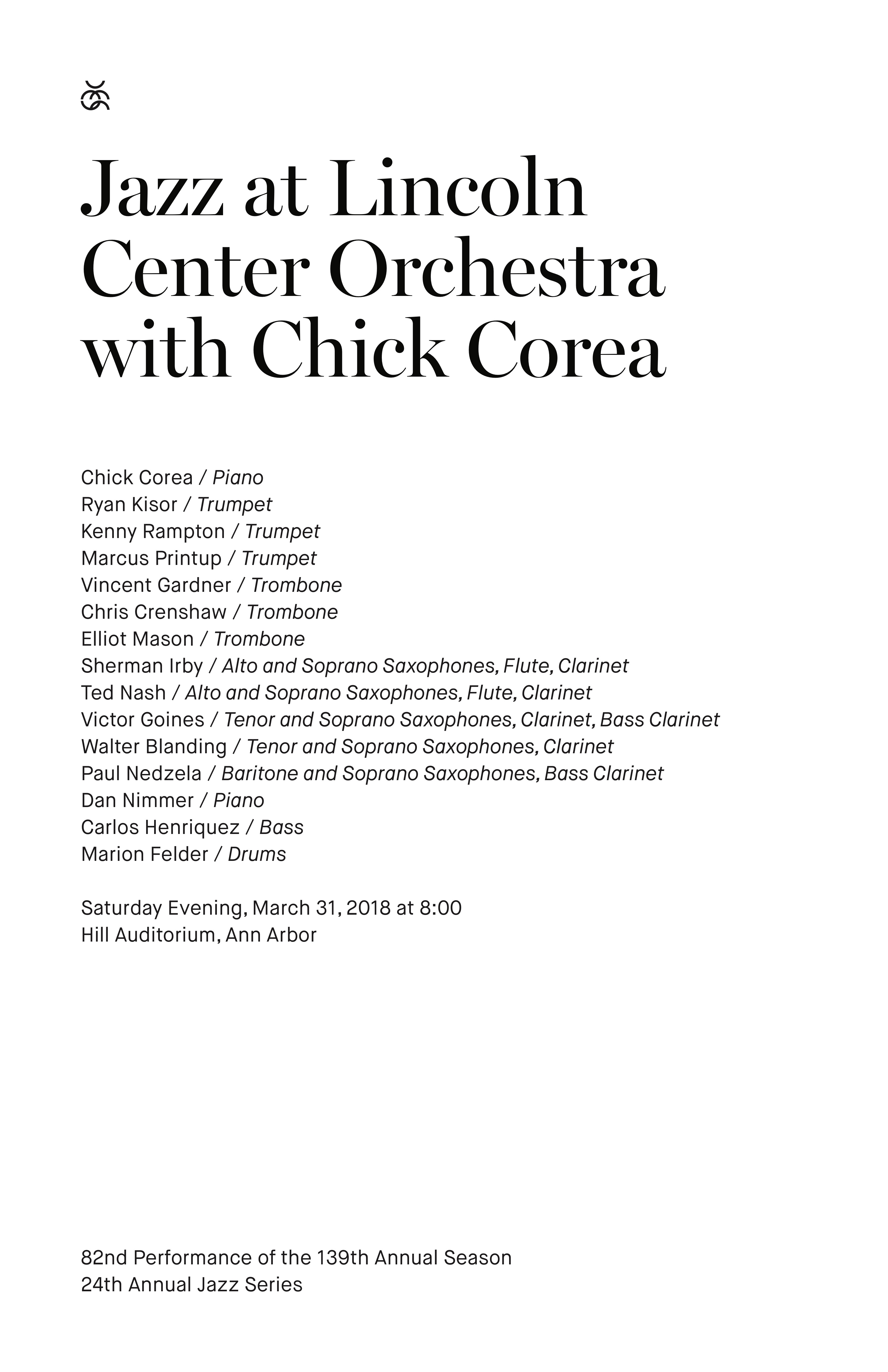 UMS Concert Program, March 31, 2018 - Jazz at Lincoln Center Orchestra with Chick Corea image