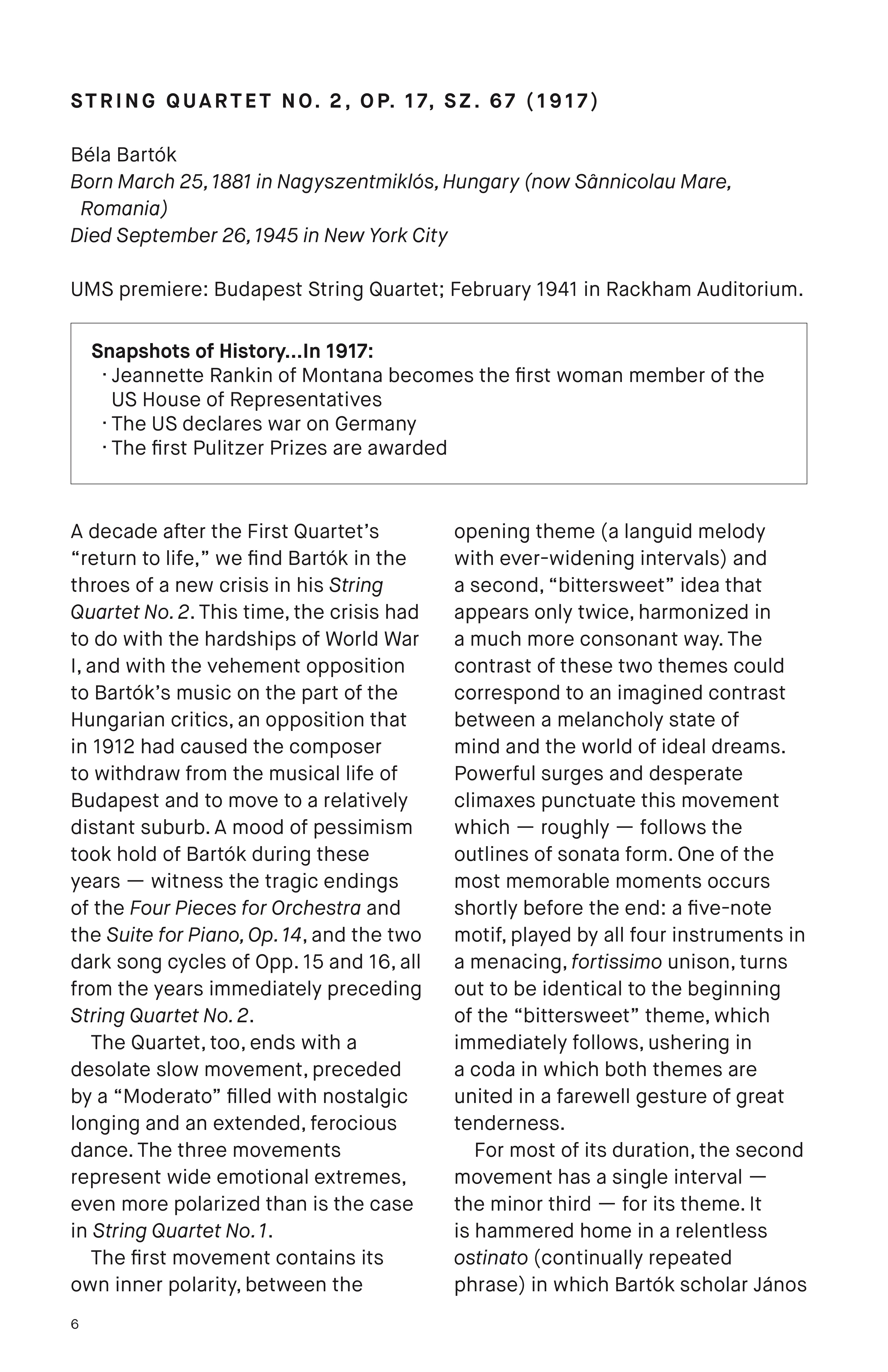 UMS Concert Program, April 8, 2018 - Artemis Quartet image