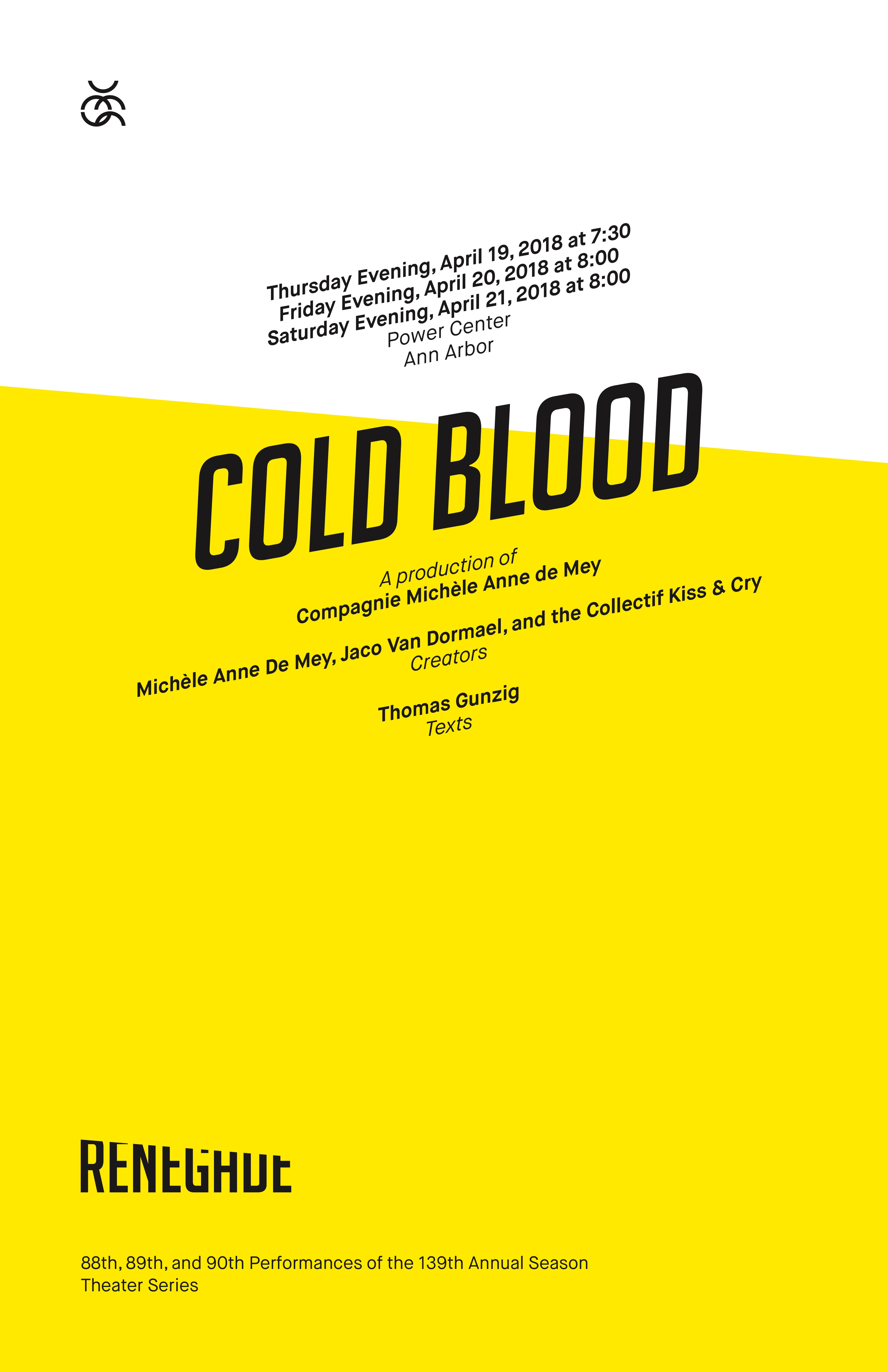 UMS Concert Program, April 19, 2018 - April 21, 2018 - Cold Blood image