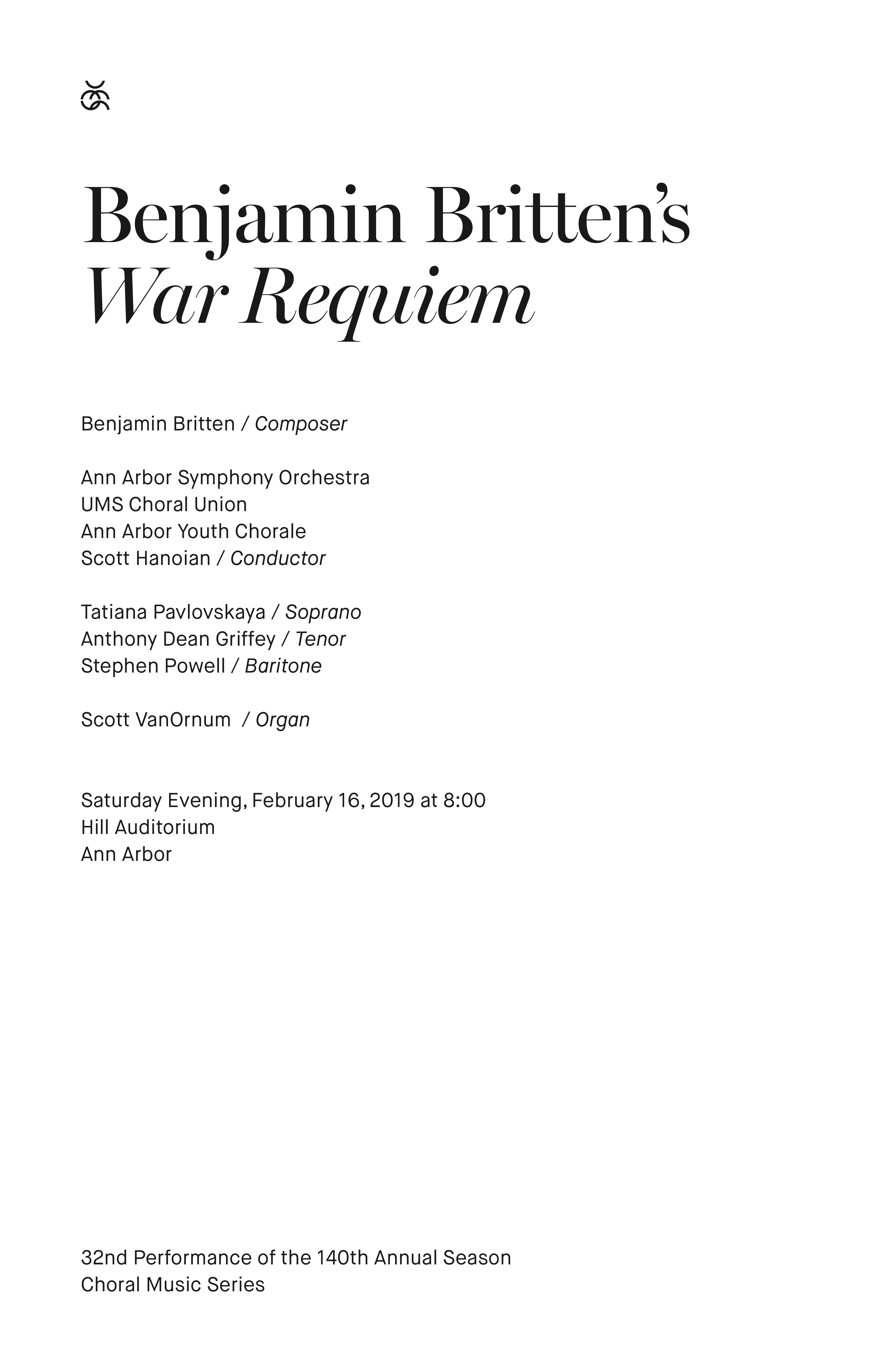 UMS Concert Program, February 16, 2019 - Benjamin Britten's War Requiem image