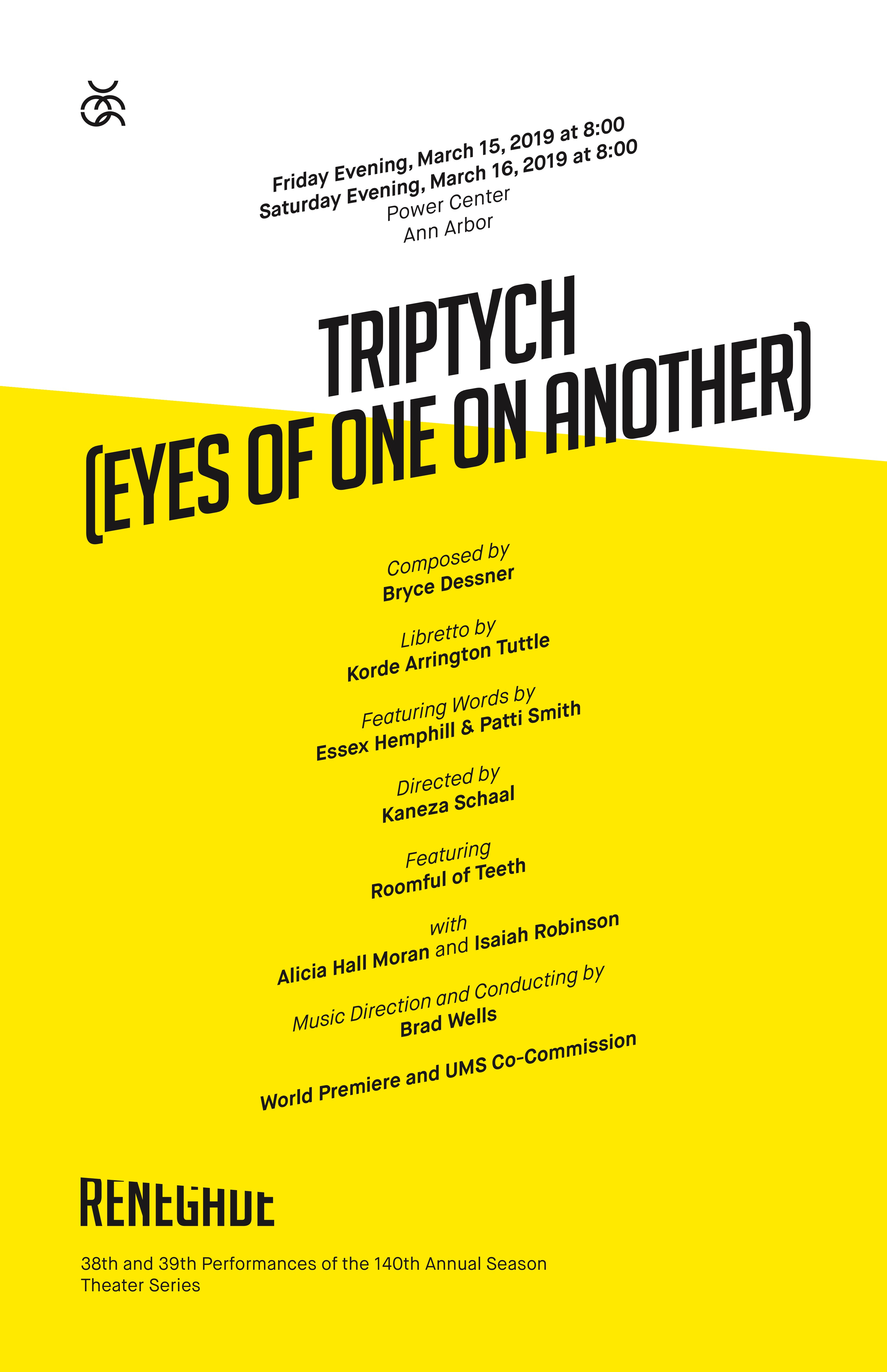 UMS Concert Program, March 15, 2019 - Triptych (Eyes of One on Another) image