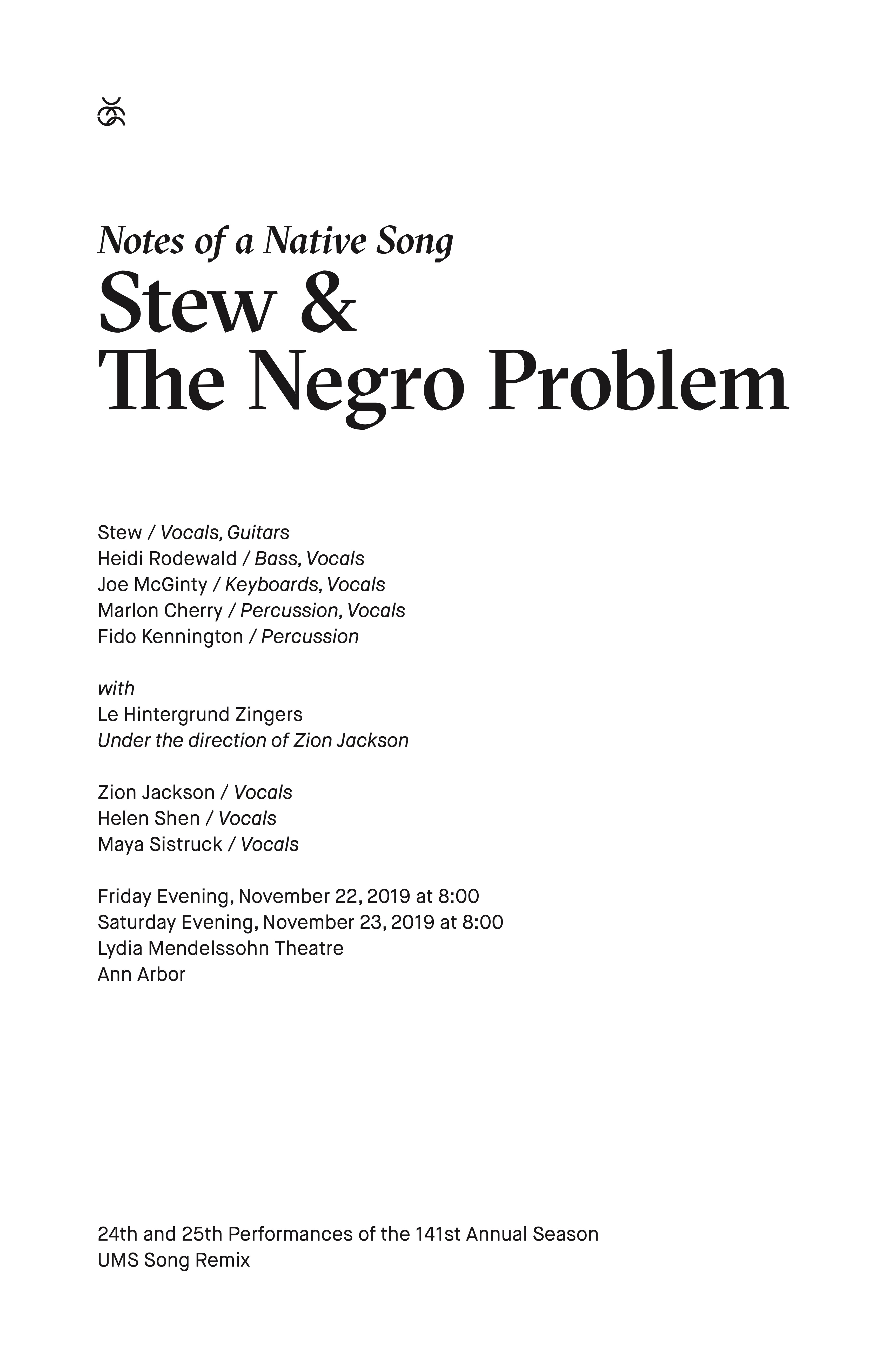 UMS Concert Program, November 22 & 23, 2019 - Notes of a Native Song: Stew & The Negro Problem image