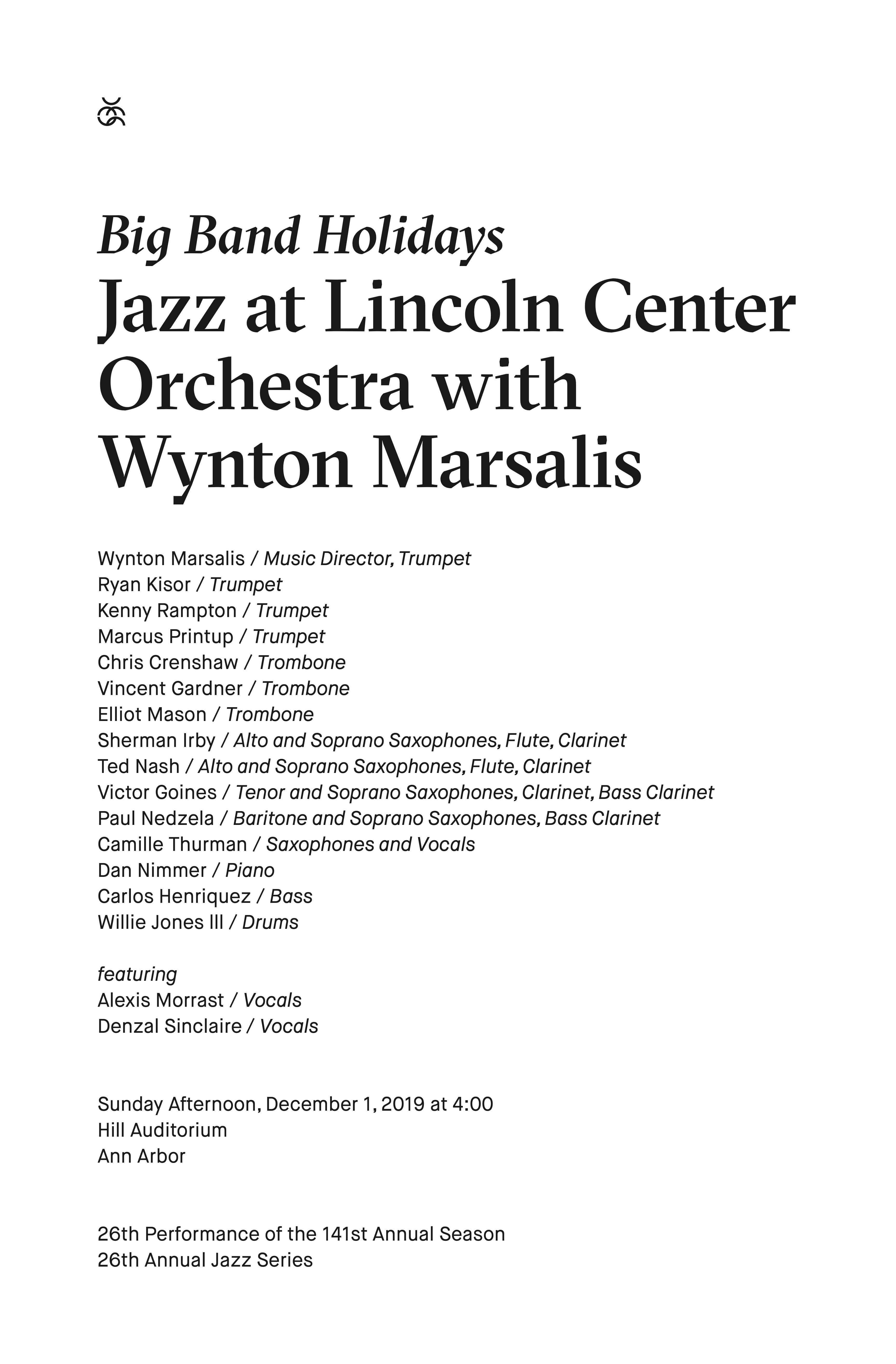 UMS Concert Program, December 1, 2019 - Big Band Holidays: Jazz at Lincoln Center Orchestra with Wynton Marsalis image