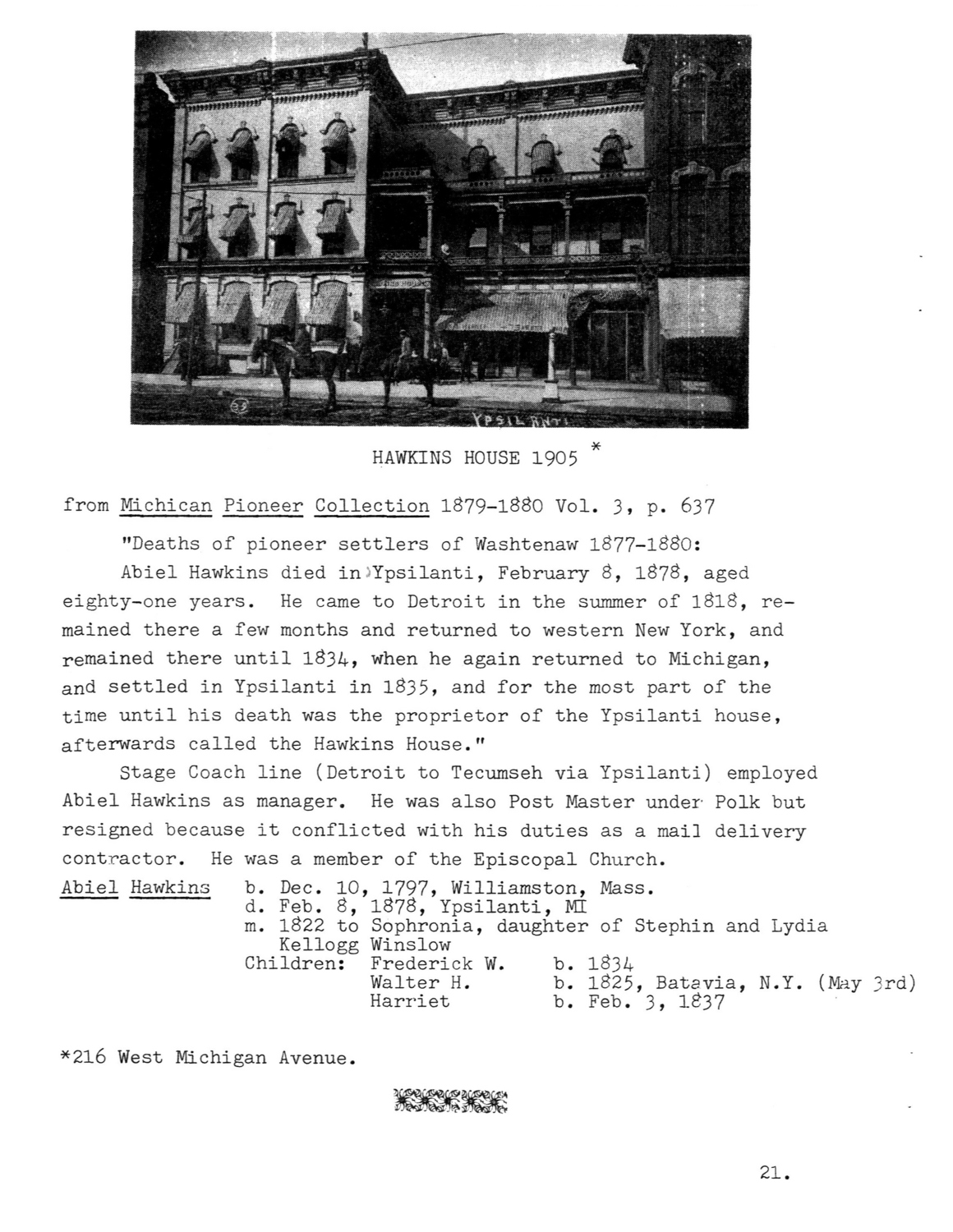 Hawkins House (216 West Michigan Ave), excerpt from Michigan Pioneer Collection image