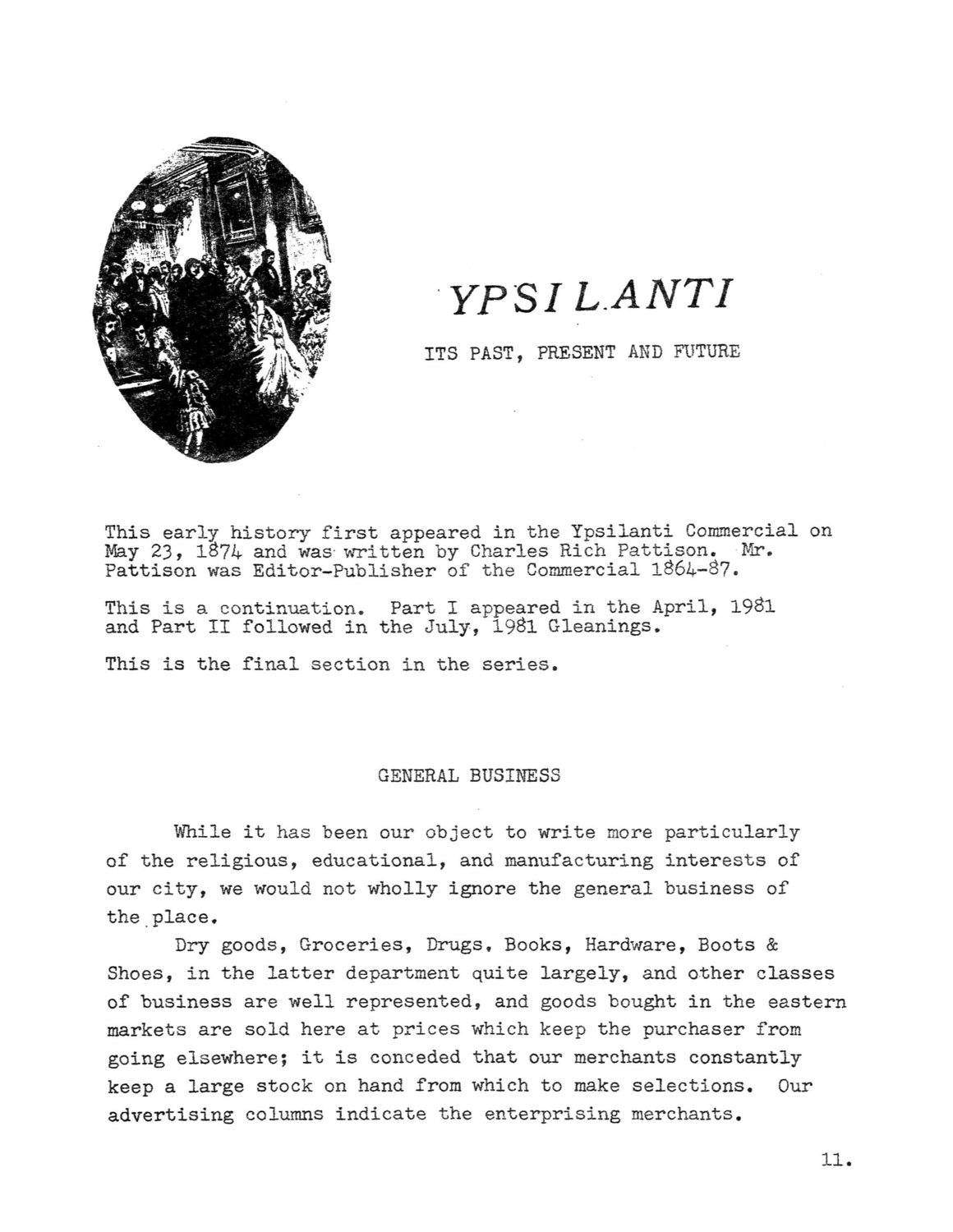 Ypsilanti: Its Past, Present and Future (Part III) image