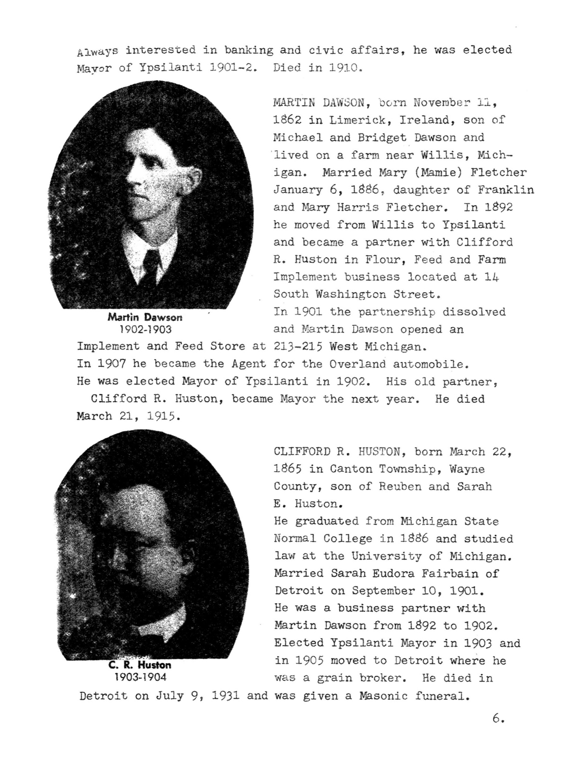 Mayors of Ypsilanti 1858-1976 image