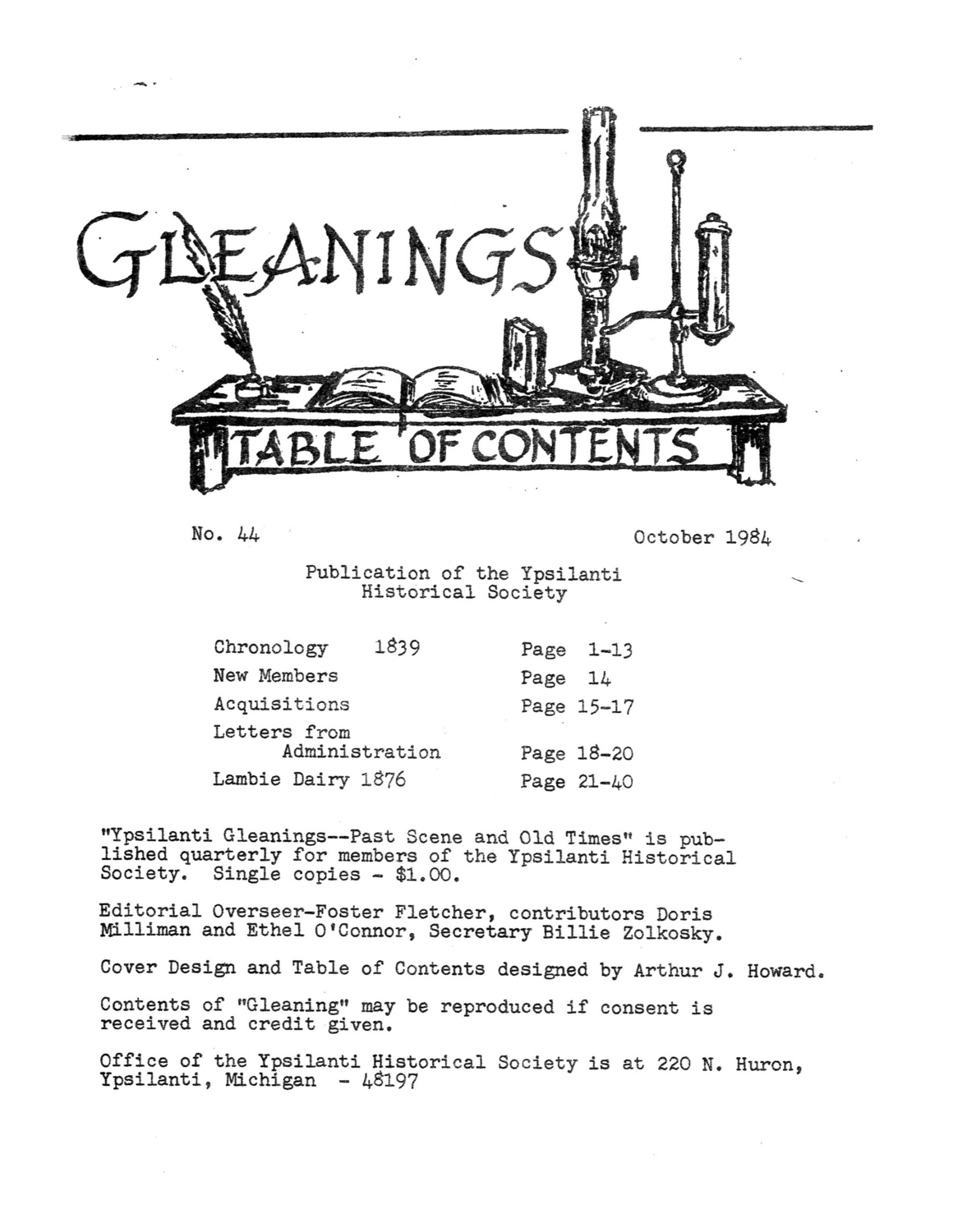 Ypsilanti Gleanings, October 1984 image