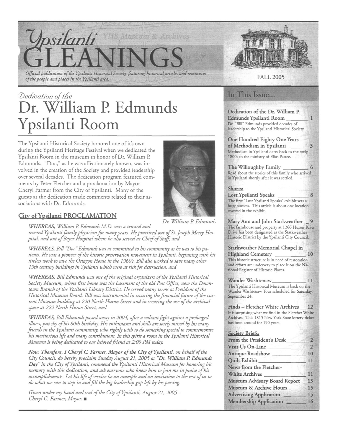 Ypsilanti Gleanings, Fall 2005 image