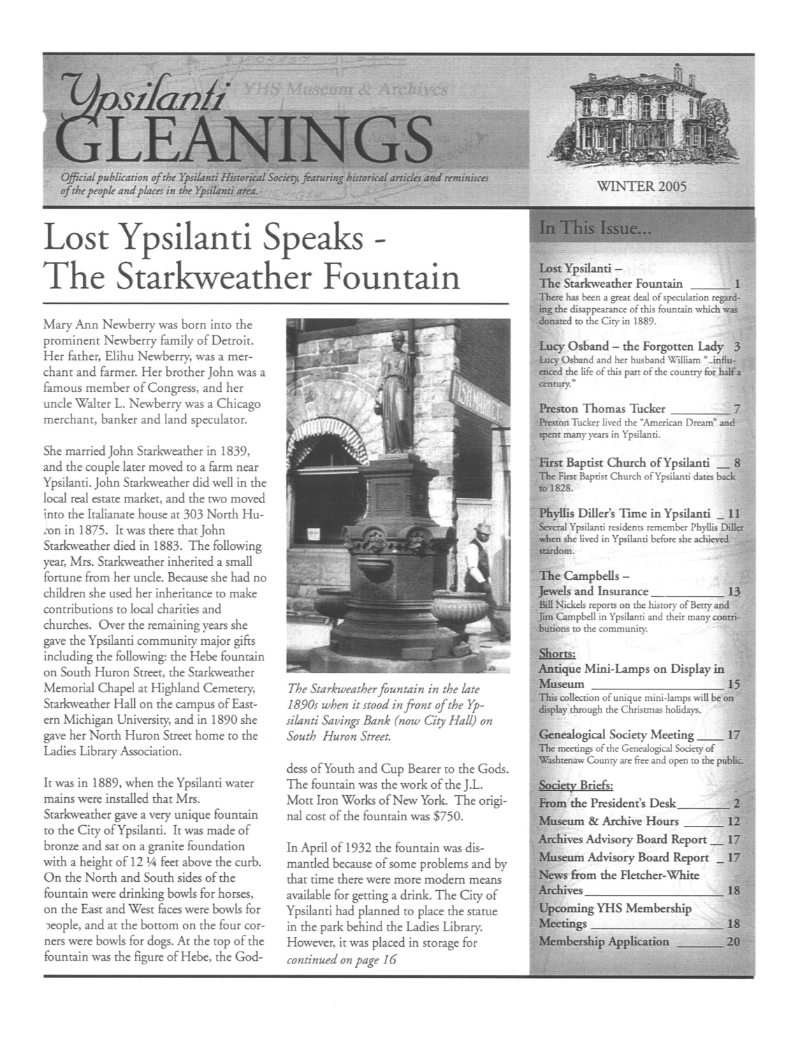 Lost Ypsilanti Speaks--The Starkweather Fountain image