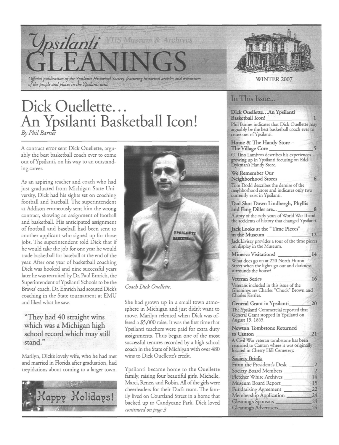 Dick Ouellette...An Ypsilanti Basketball Icon! image