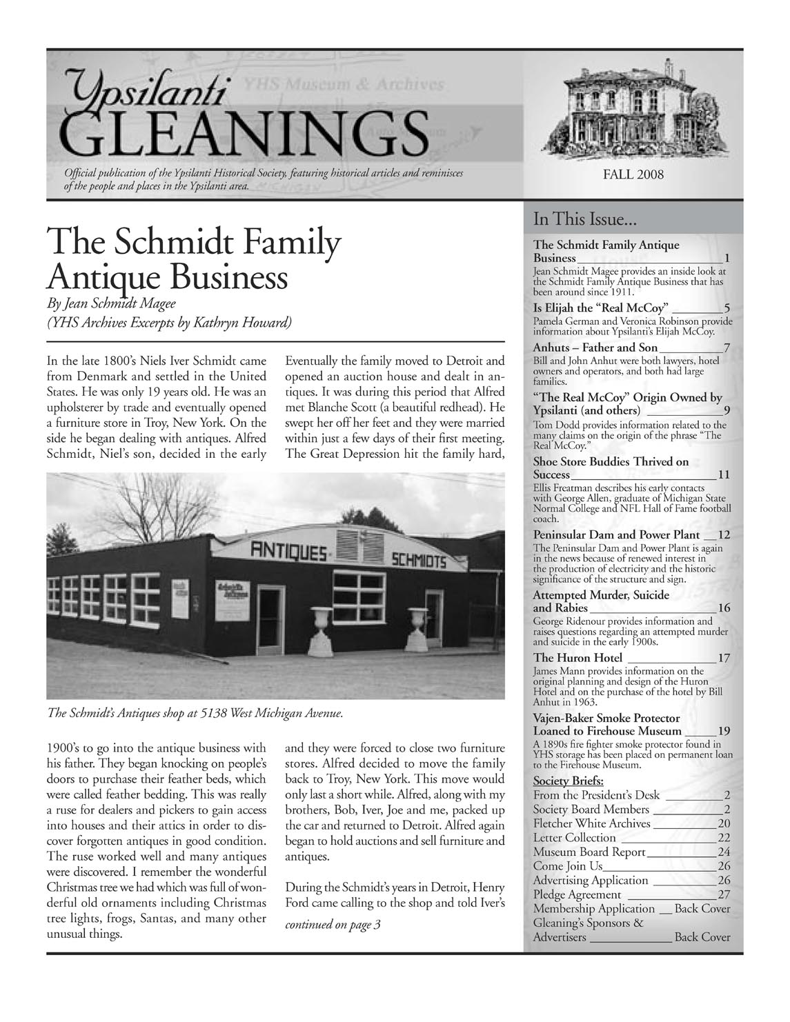 Ypsilanti Gleanings, Fall 2008 image