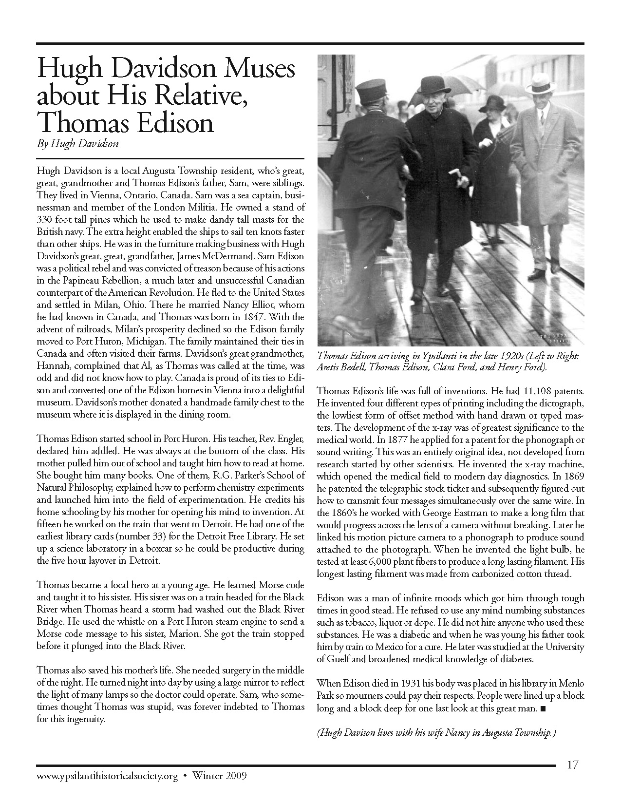 Hugh Davidson Muses about his Relative, Thomas Edison image