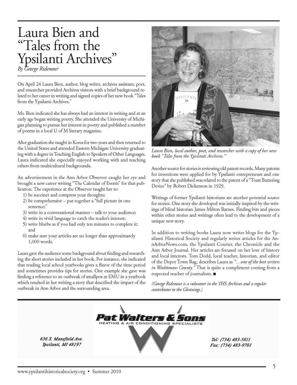 "Laura Bien and ""Tales from the Ypsilanti Archives"" image"