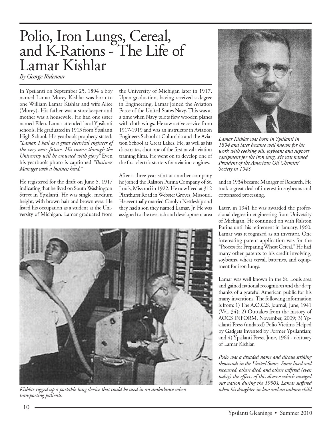 Polio, Iron Lungs, Cereal, and K-Rations - The Life of Lamar Kishlar image