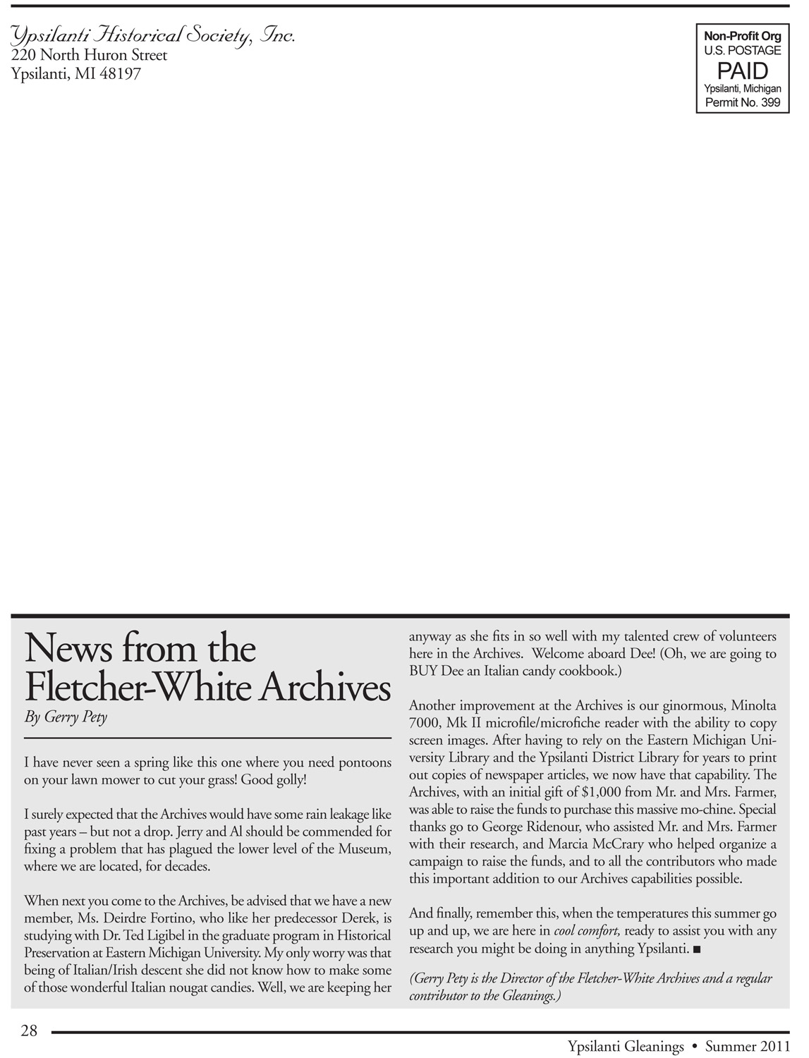 News from the Fletcher-White Archives image