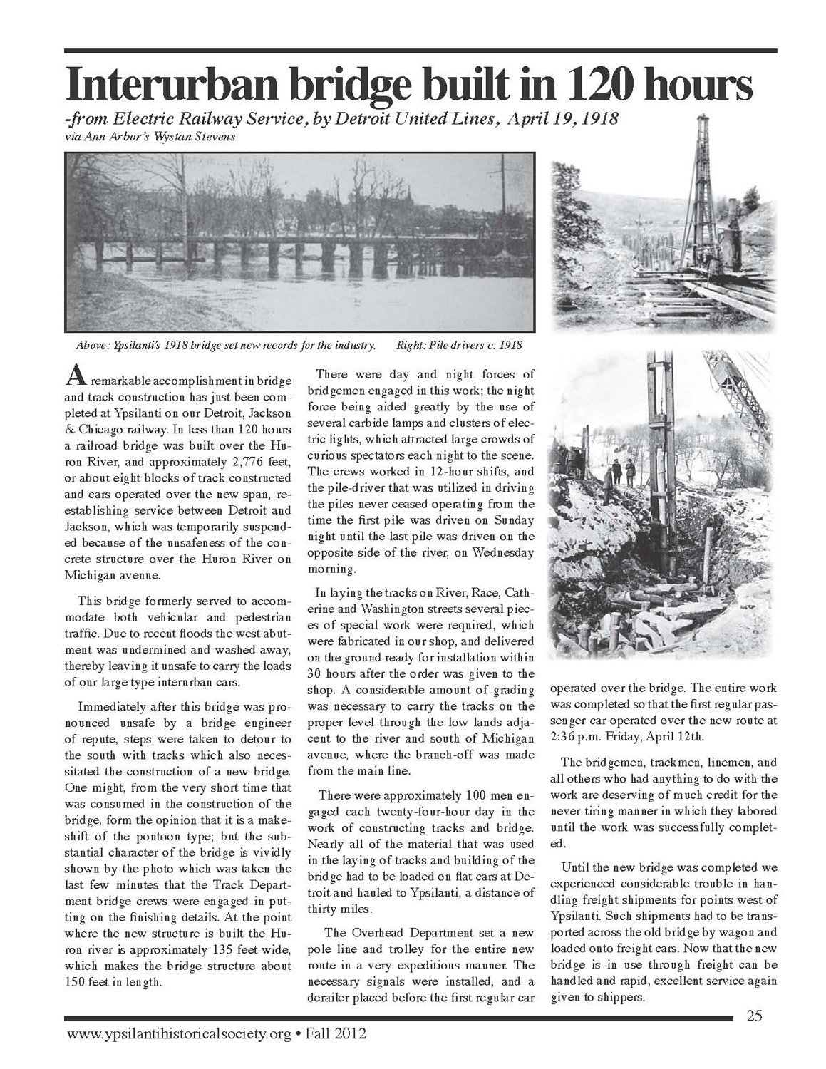 Bridge Built in 120 Hours - from Electric Railway Service By Detroit United Lines, Publicity Dept. April 19, 1918 image