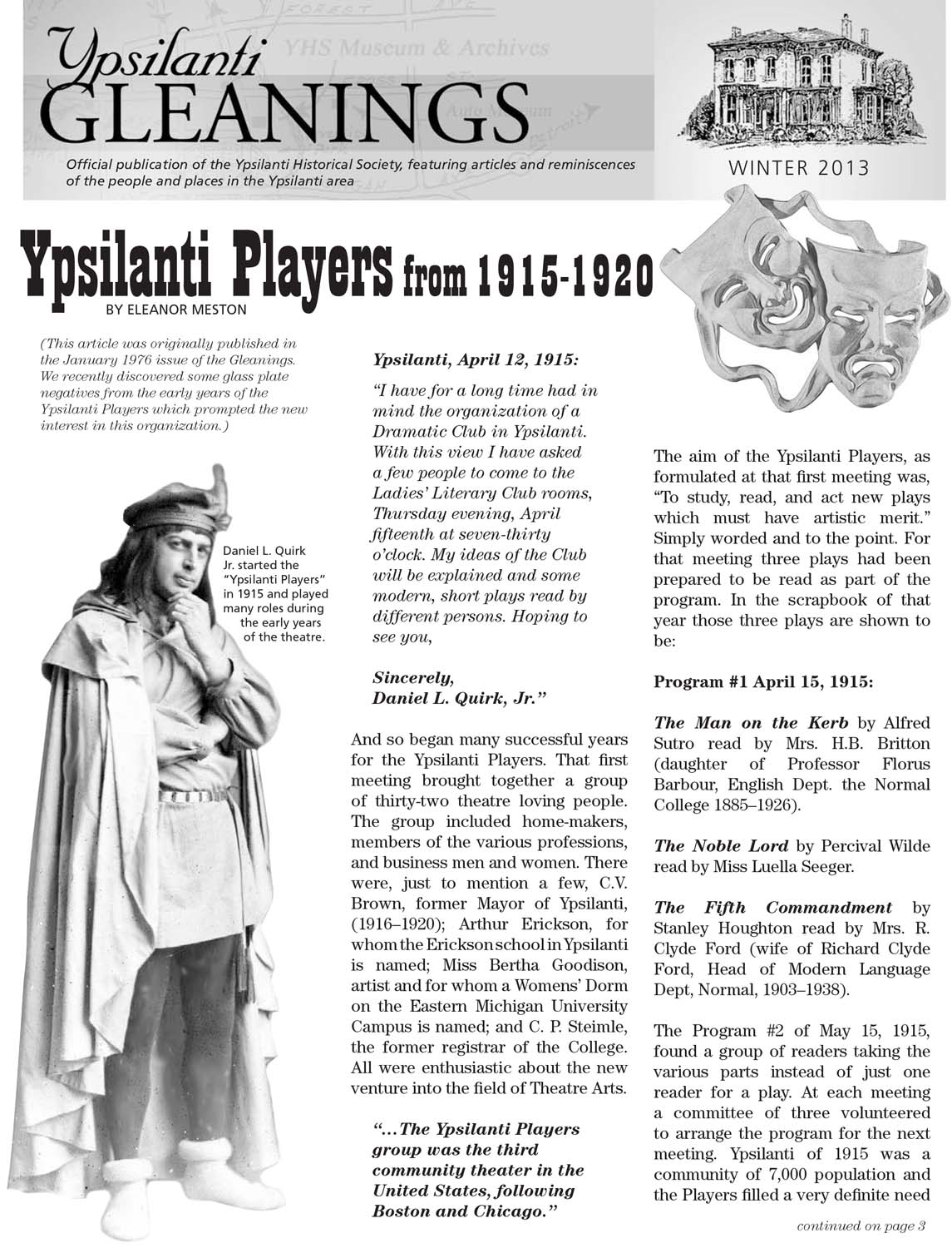 Ypsilanti Players From 1915 - 1957 image