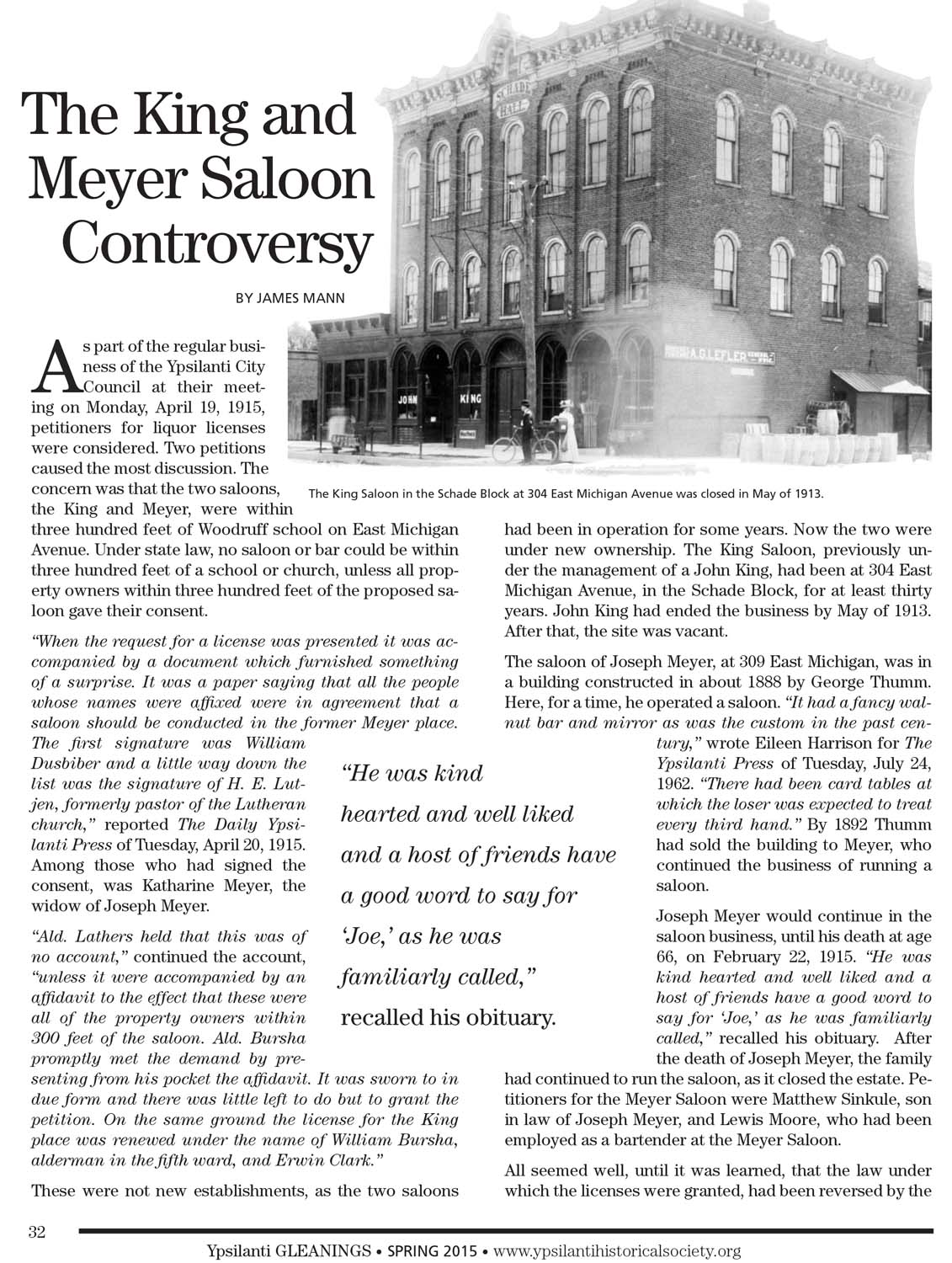 The King and Meyer Saloon Controversy image