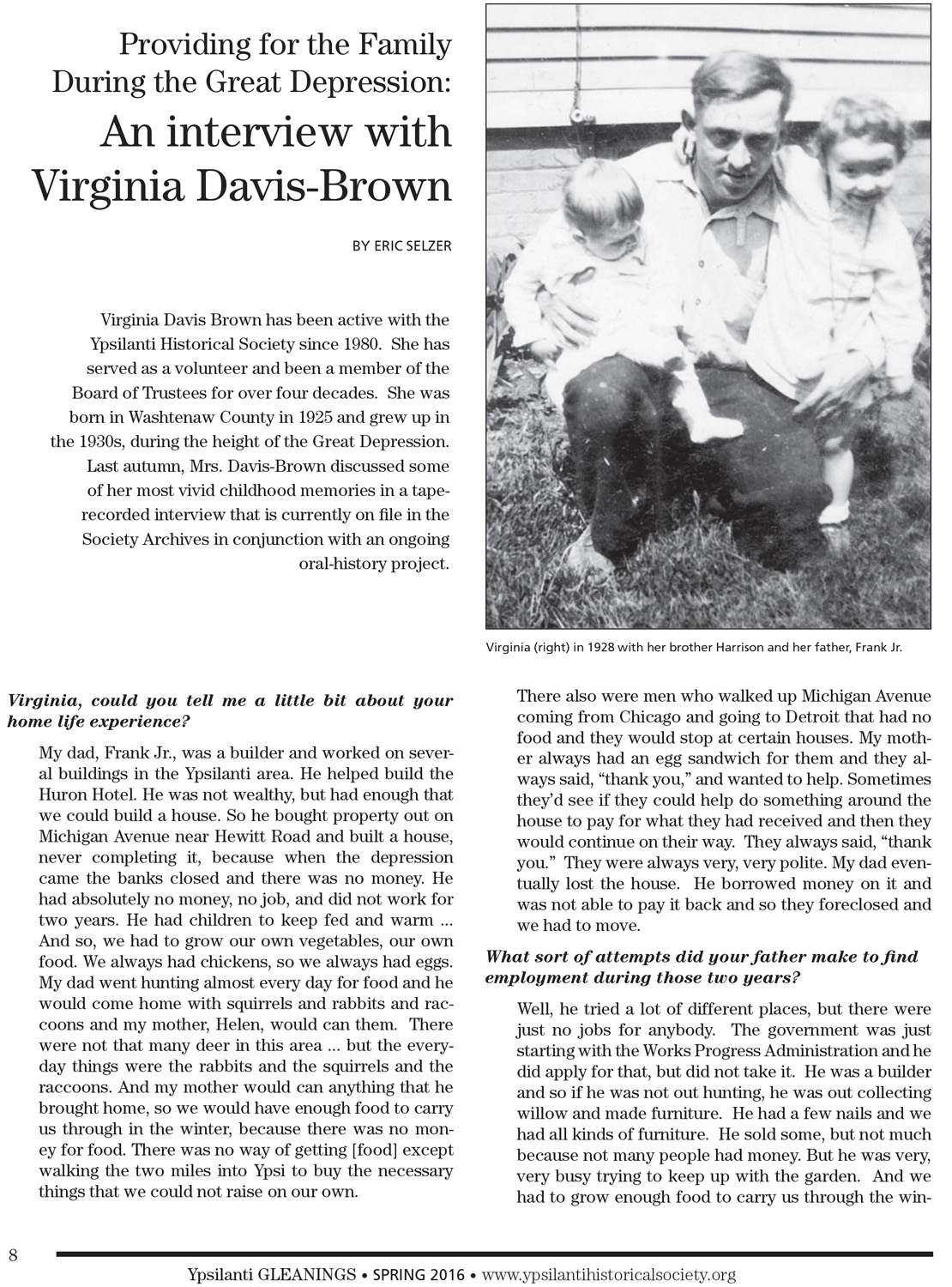 Providing for the Family During the Great Depression: An interview with Virginia Davis-Brown image
