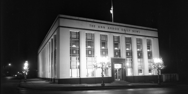 The Ann Arbor Daily News Building at Night