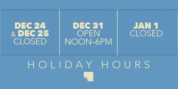 AADL holiday hours: closed December 24 & 25, closing at 6pm on December 31, and closed January 1
