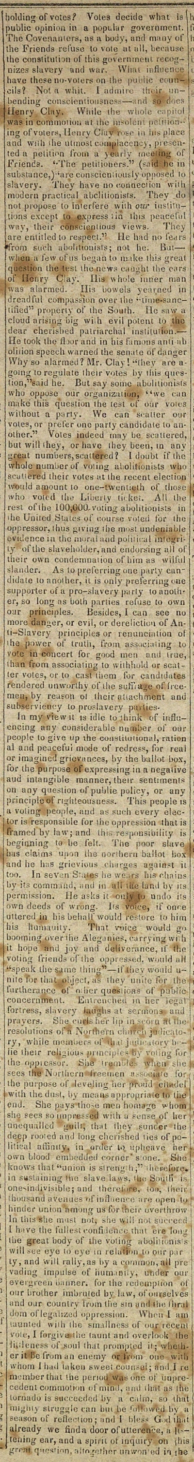 From the Union Herald: The advocates of an independent abolition political organization... image